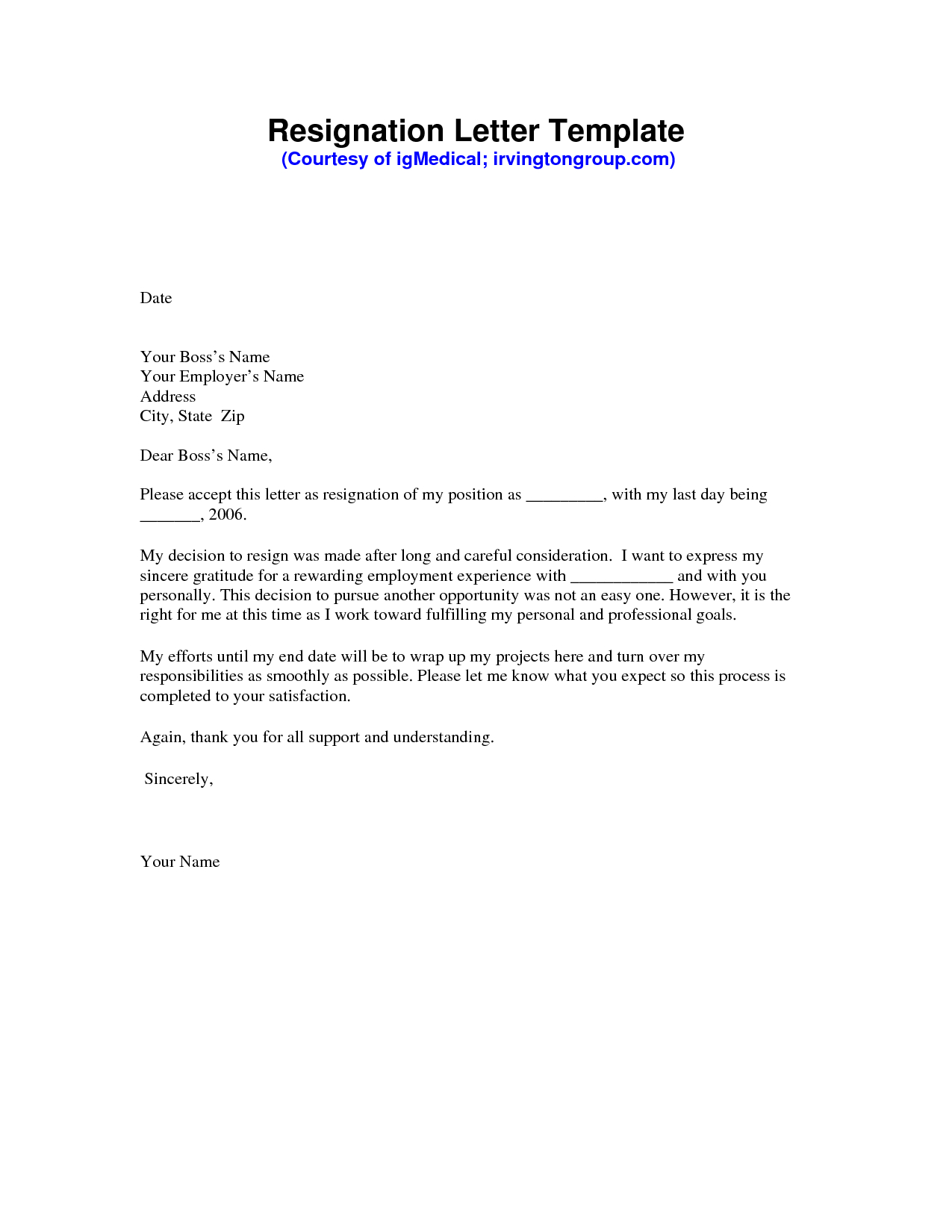 Resignation Letter Template Free Download - Resignation Letter Sample Pdf Resignation Letter