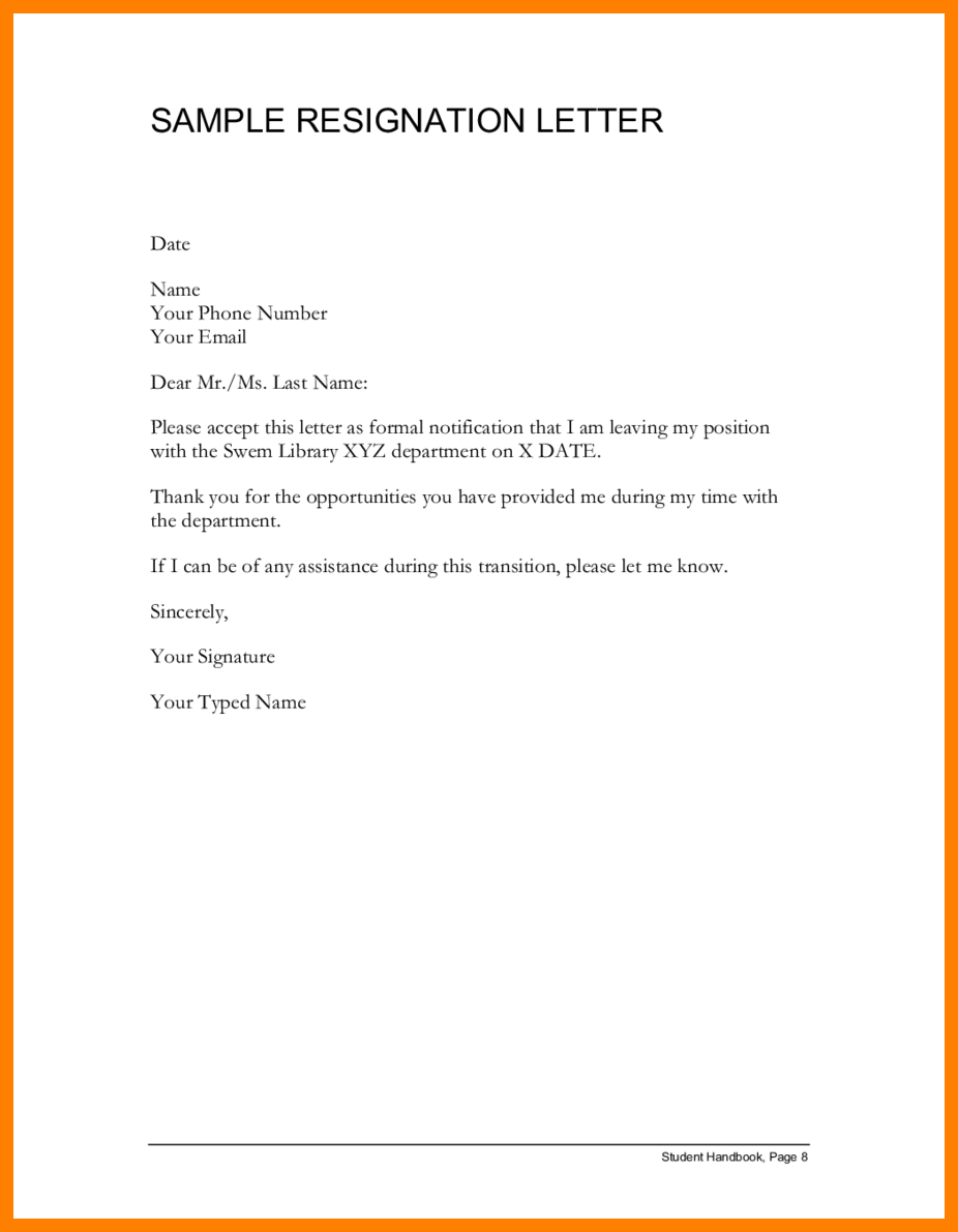 Microsoft Office Resignation Letter Template - Resignation Letter Template Letters Sample Templates for