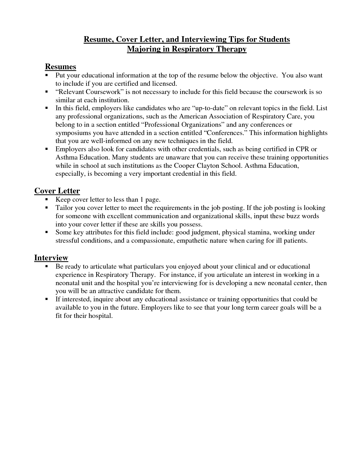 Respiratory therapy Cover Letter Template - Respiratory therapist Cover Letter