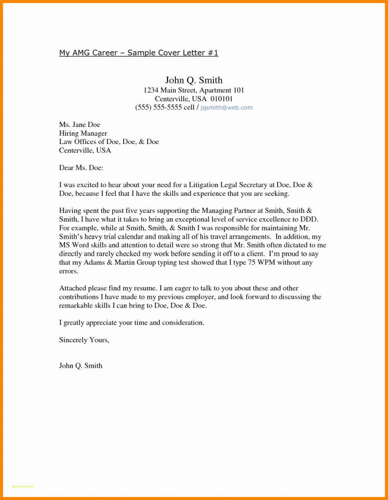 Free Employment Cover Letter Template - Resume Cover Letter Template Free Lovely Employment Cover Letter