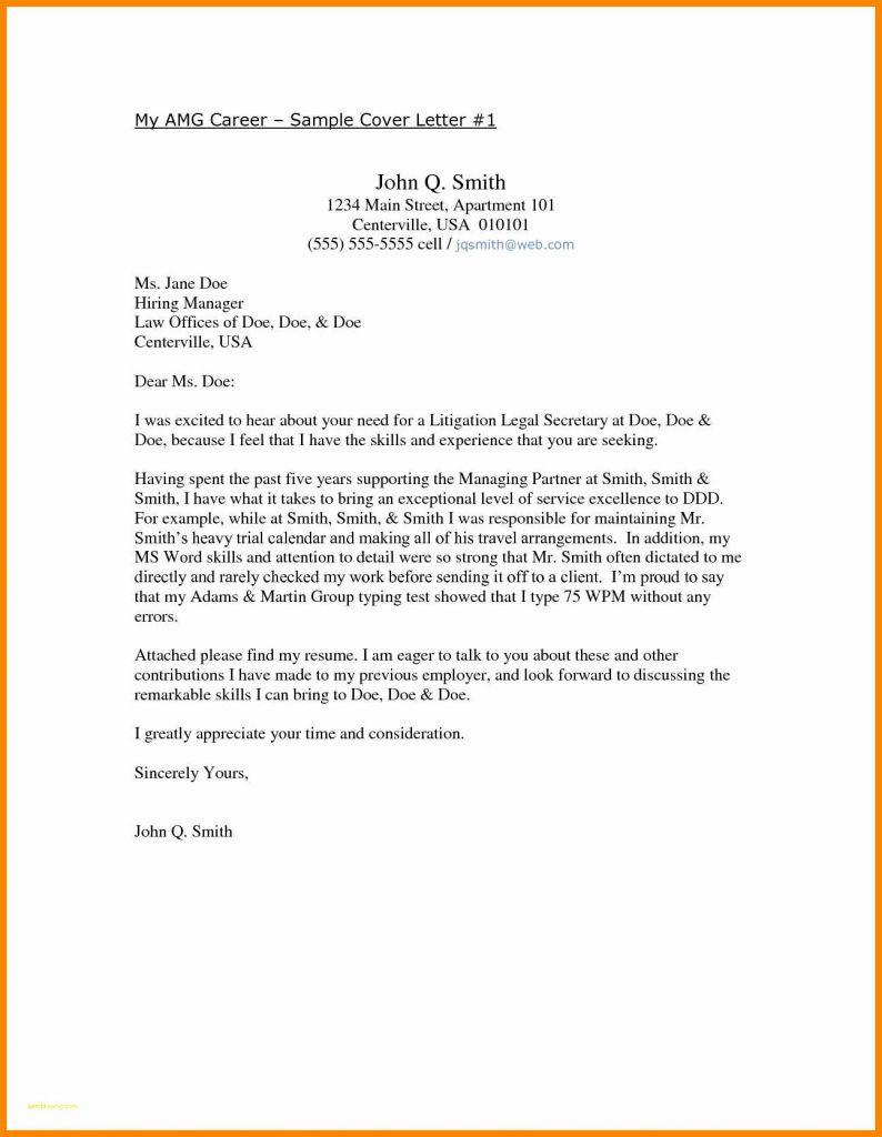 Free Sample Resume Cover Letter Template - Resume Cover Letter Template Free Lovely Employment Cover Letter