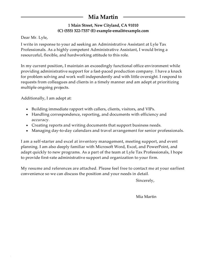 Cover Letter Template for Administrative assistant Job - Resume Samples Administrative assistant Best Cover Letter