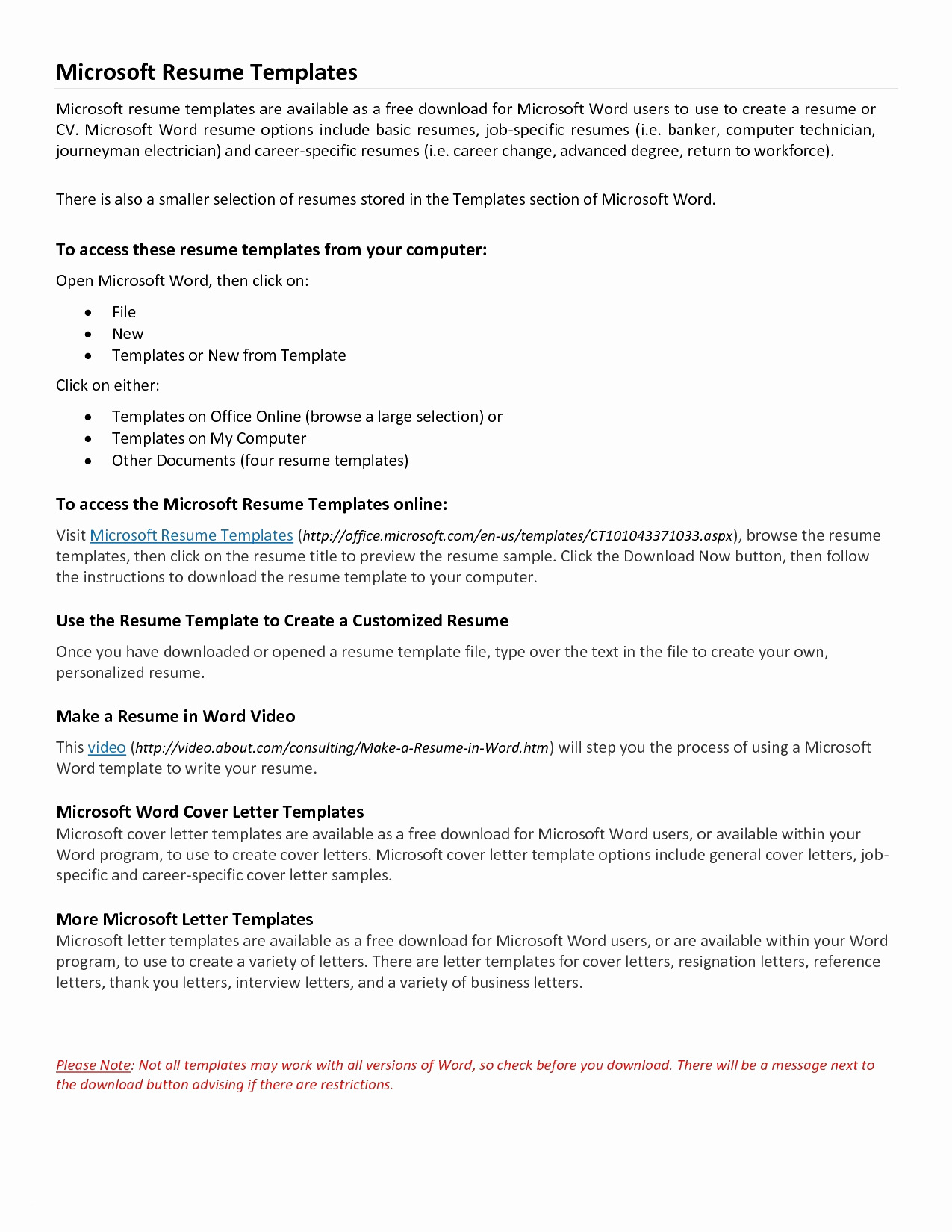 Free Thank You Letter Template - Resume Templates Microsoft Word Elegant Microsoft Word Resume Sample