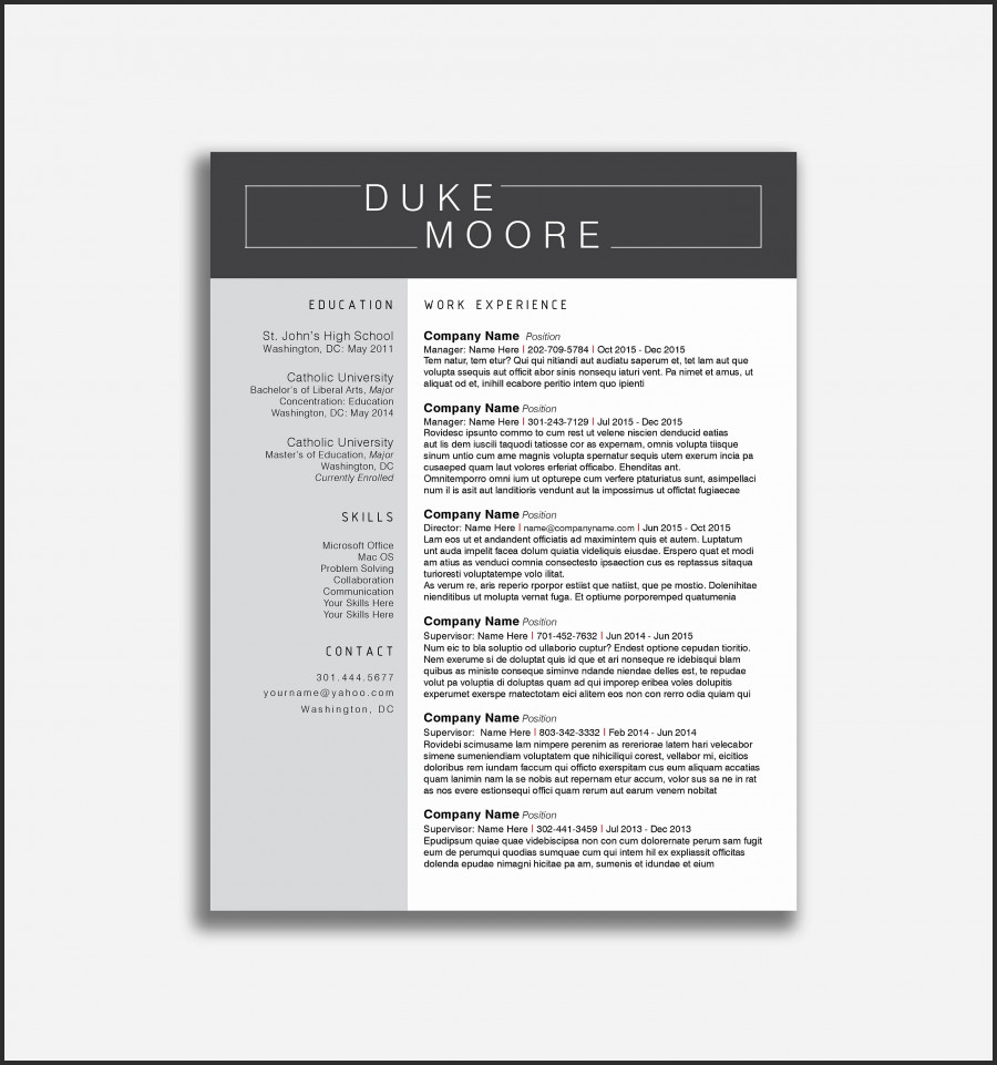 Modern Cover Letter Template - Resume Templates Modern Resume Template 2017 Resume Writing