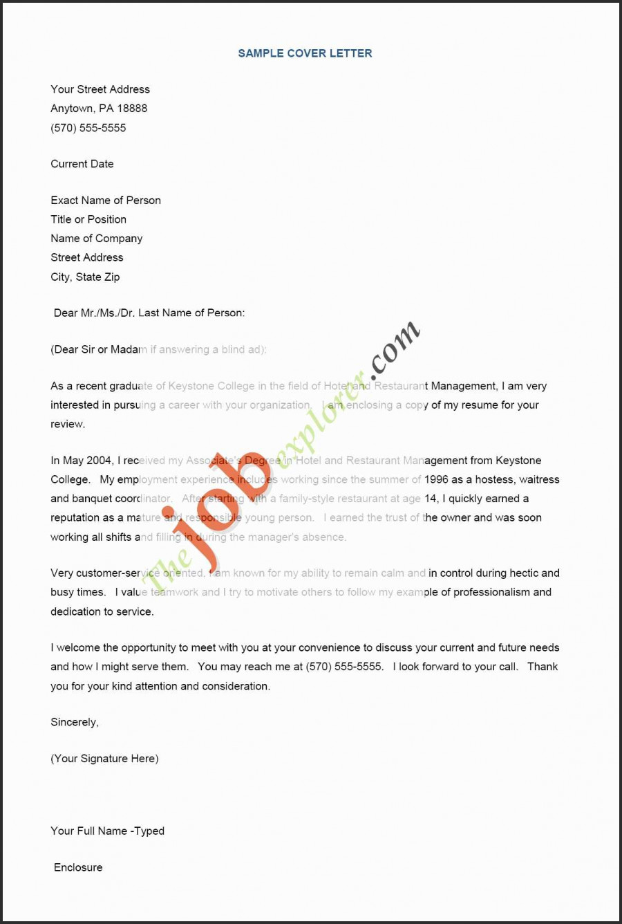 Cover Letter Template Restaurant - Resume Templates Restaurant Resume Template Best Cover Letter