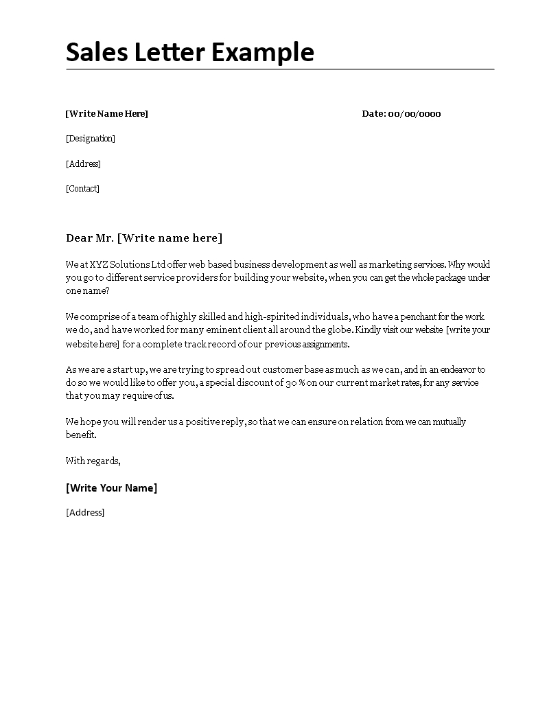 Sales Letter Template Promoting A Service - Sales Letter Example Sales Letter Examplecx Easy to