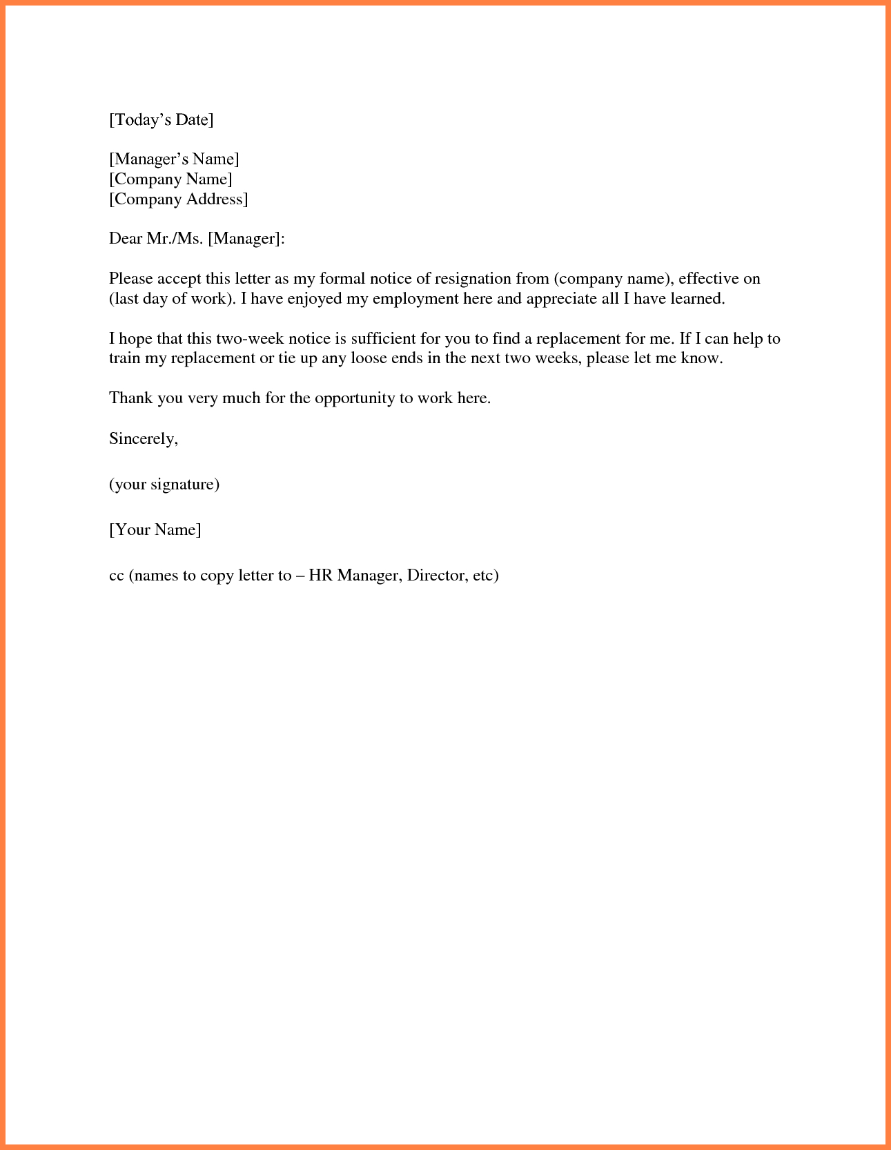 2 Week Notice Letter Template - Sample 2 Week Notice Letter Acurnamedia