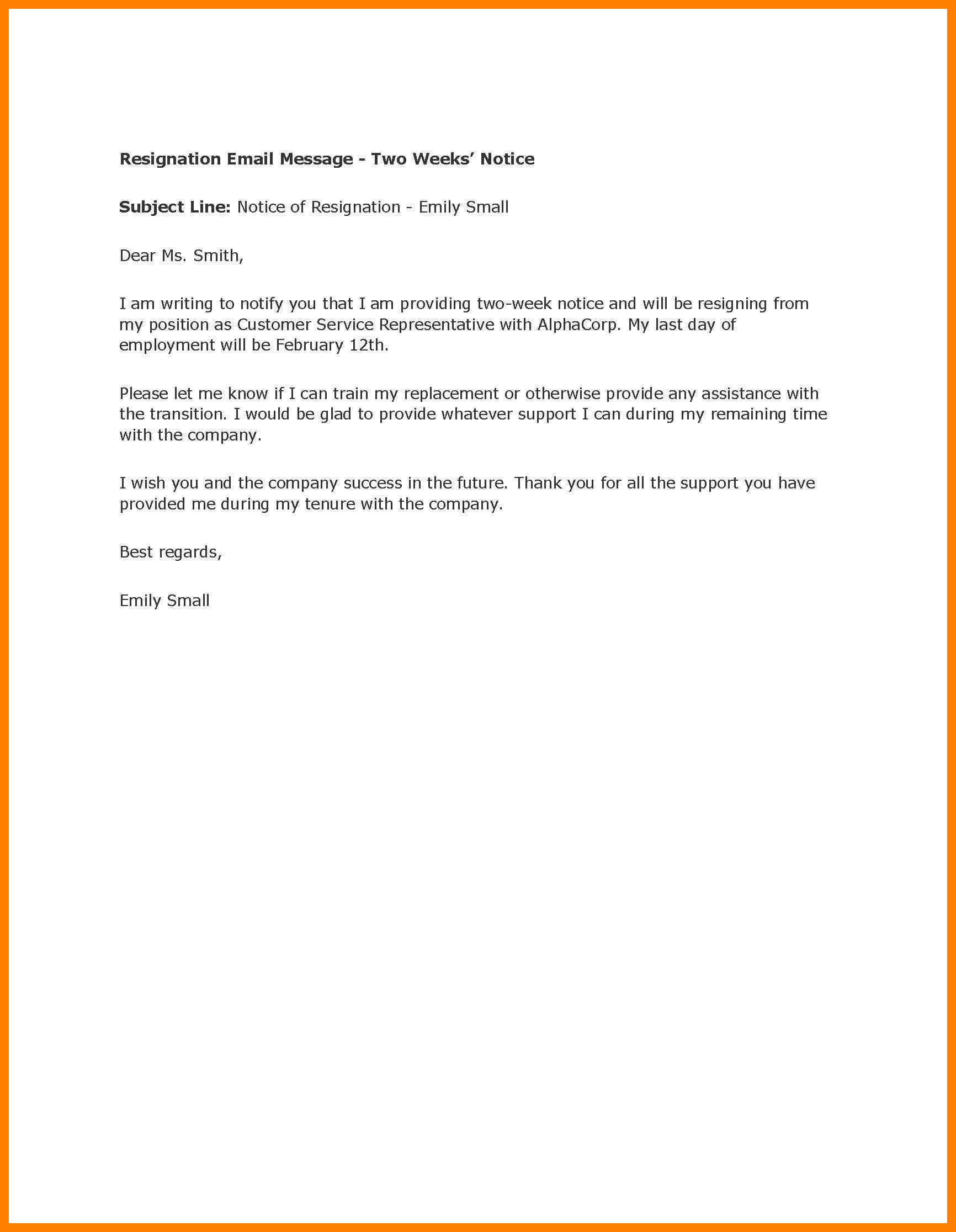 Formal Eviction Letter Template - Sample 2 Week Notice Letter Acurnamedia