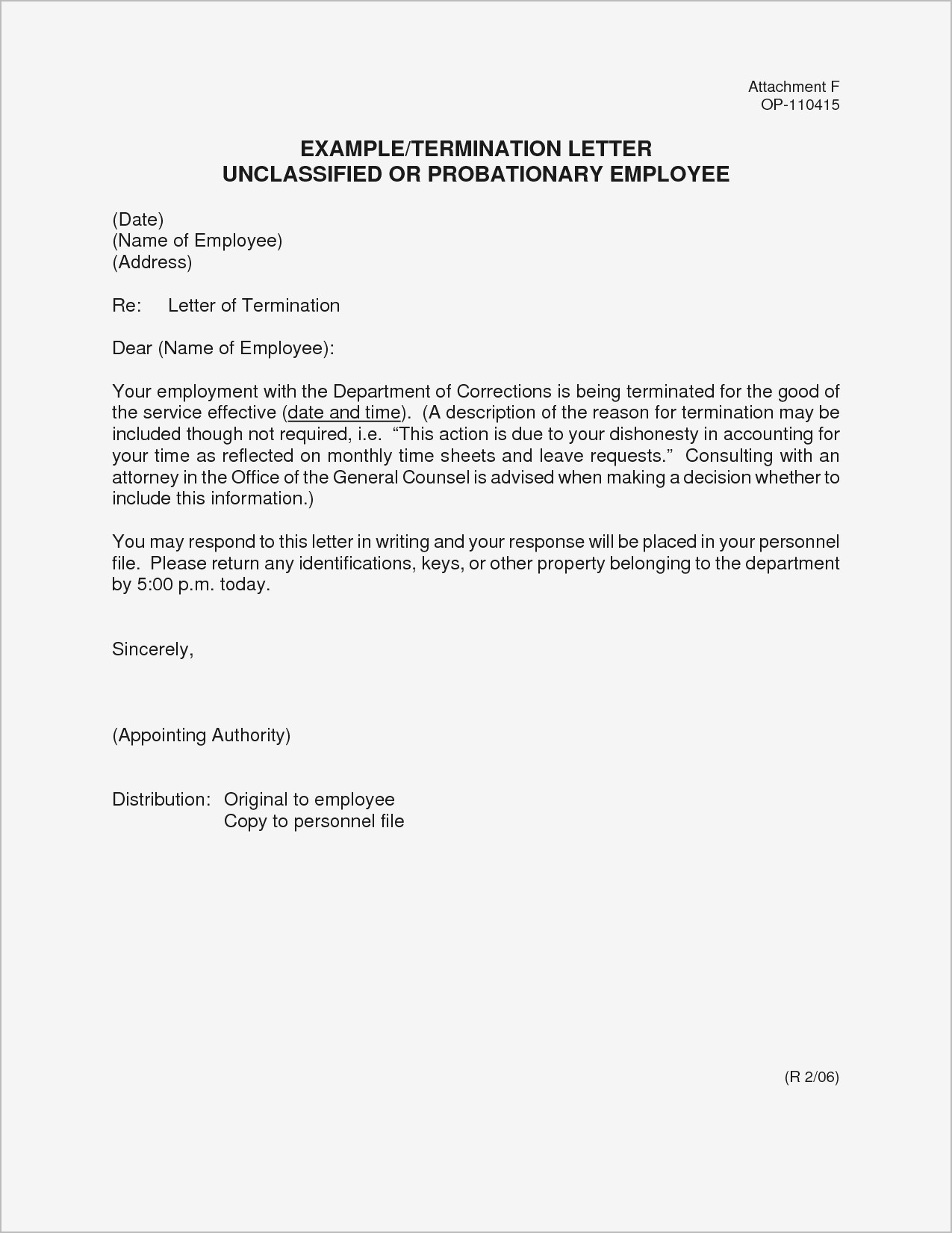 Dismissal Letter Template - Sample A Job Termination Letter New Example Termination Letter to