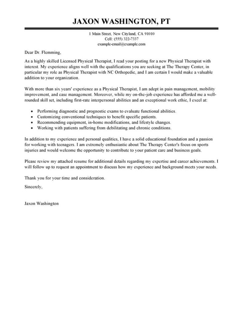 Physical Therapy Cover Letter Template Samples