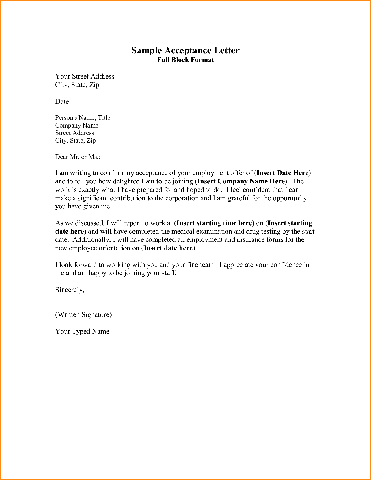 Business Proposal Acceptance Letter Template - Sample Acceptance Letter Full Block format Your Street Address