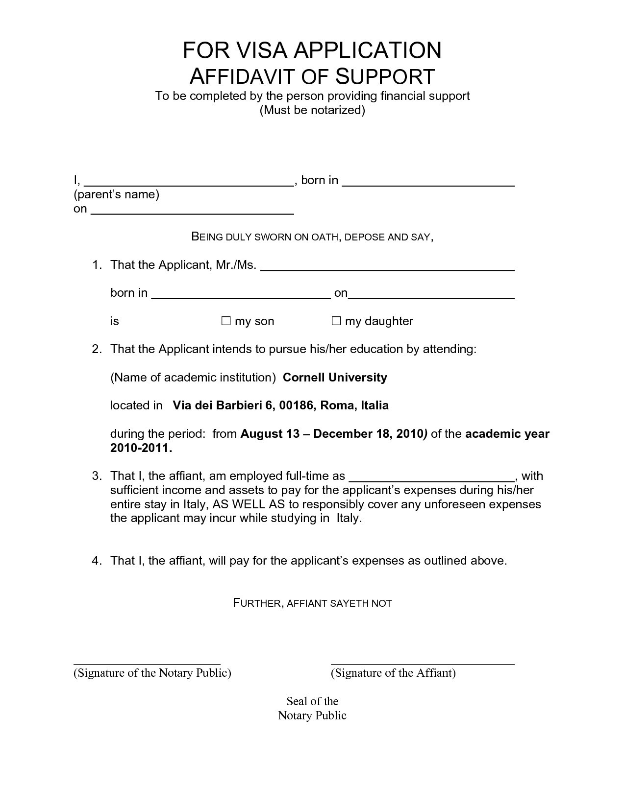 Affidavit Of Support Template Letter - Sample Affidavit Support Letter for Student Visa Inspirationa