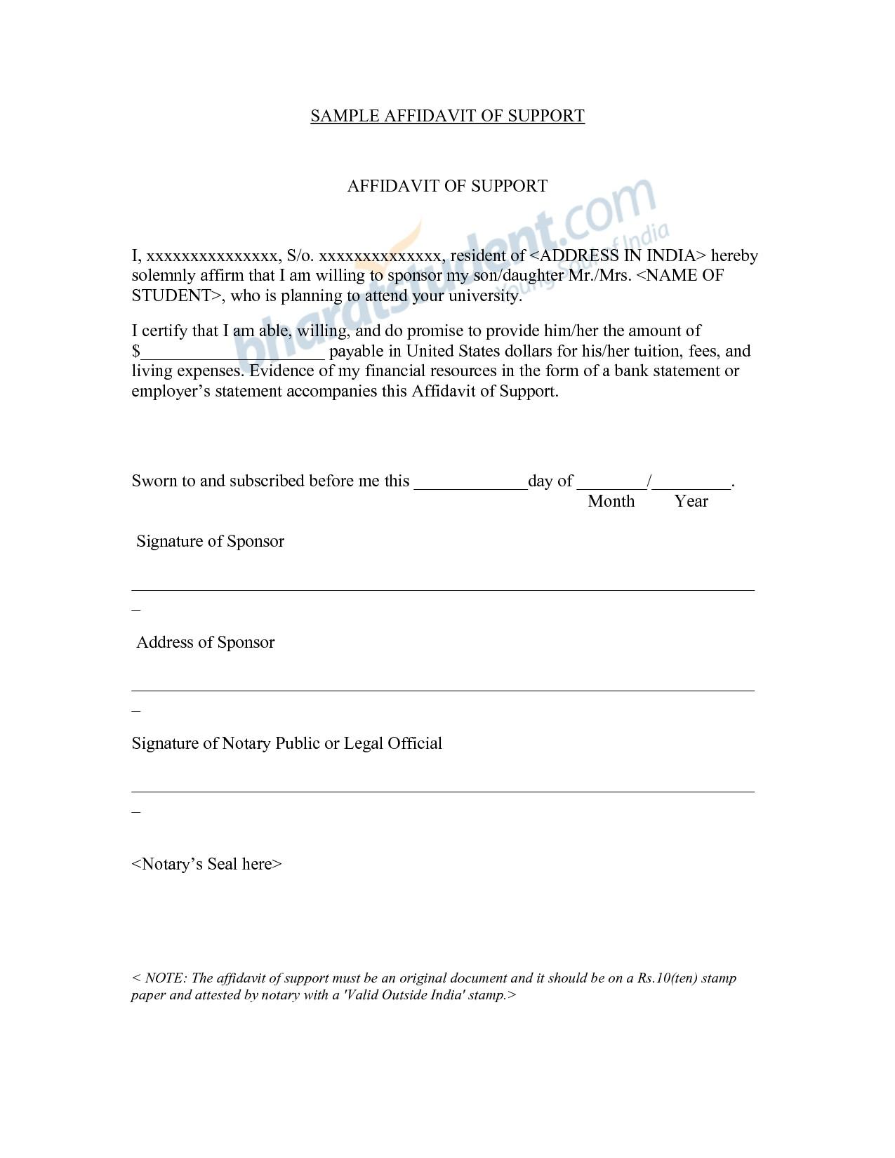 Affidavit Of Support Template Letter - Sample Affidavit Support Letter for Student Visa Save Affidavit