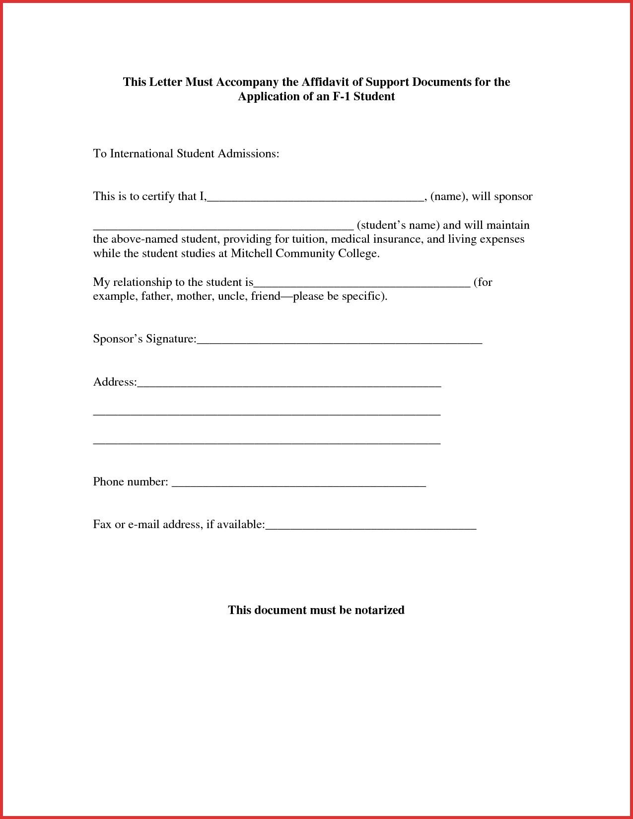 Affidavit Of Support Template Letter - Sample Affidavit Support Letter for Student Visa Valid Awesome