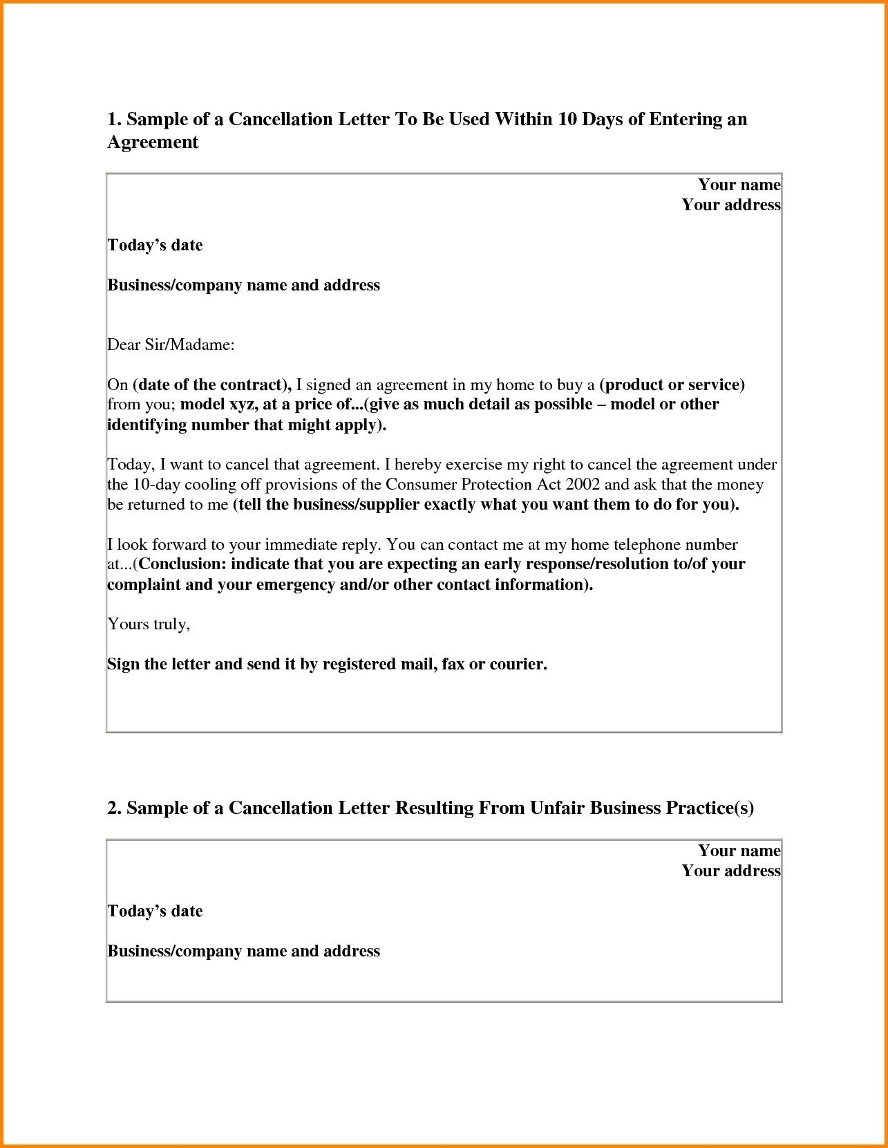 Contract Cancellation Letter Template Free Collection Letter