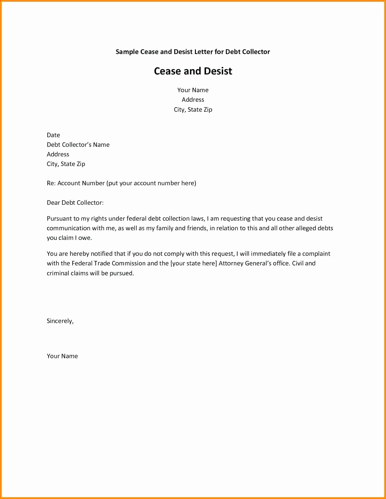 Cease and Desist Collection Letter Template - Sample Cease and Desist Letter to former Employee Awesome Cease and