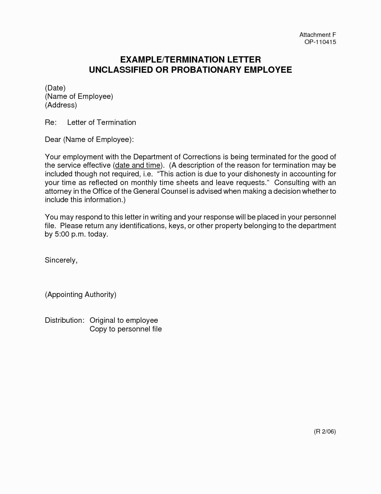 sample employee termination letter template