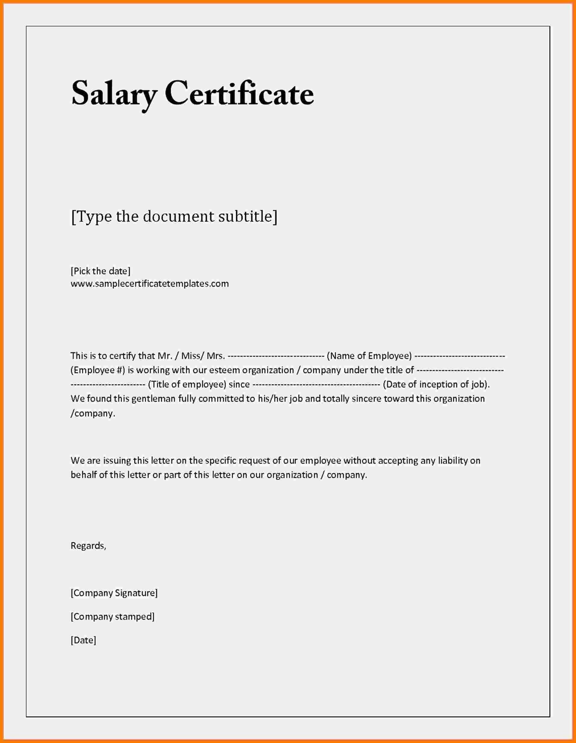 Employment Income Verification Letter Template - Sample Certificate Employment with Salary Indicated Best