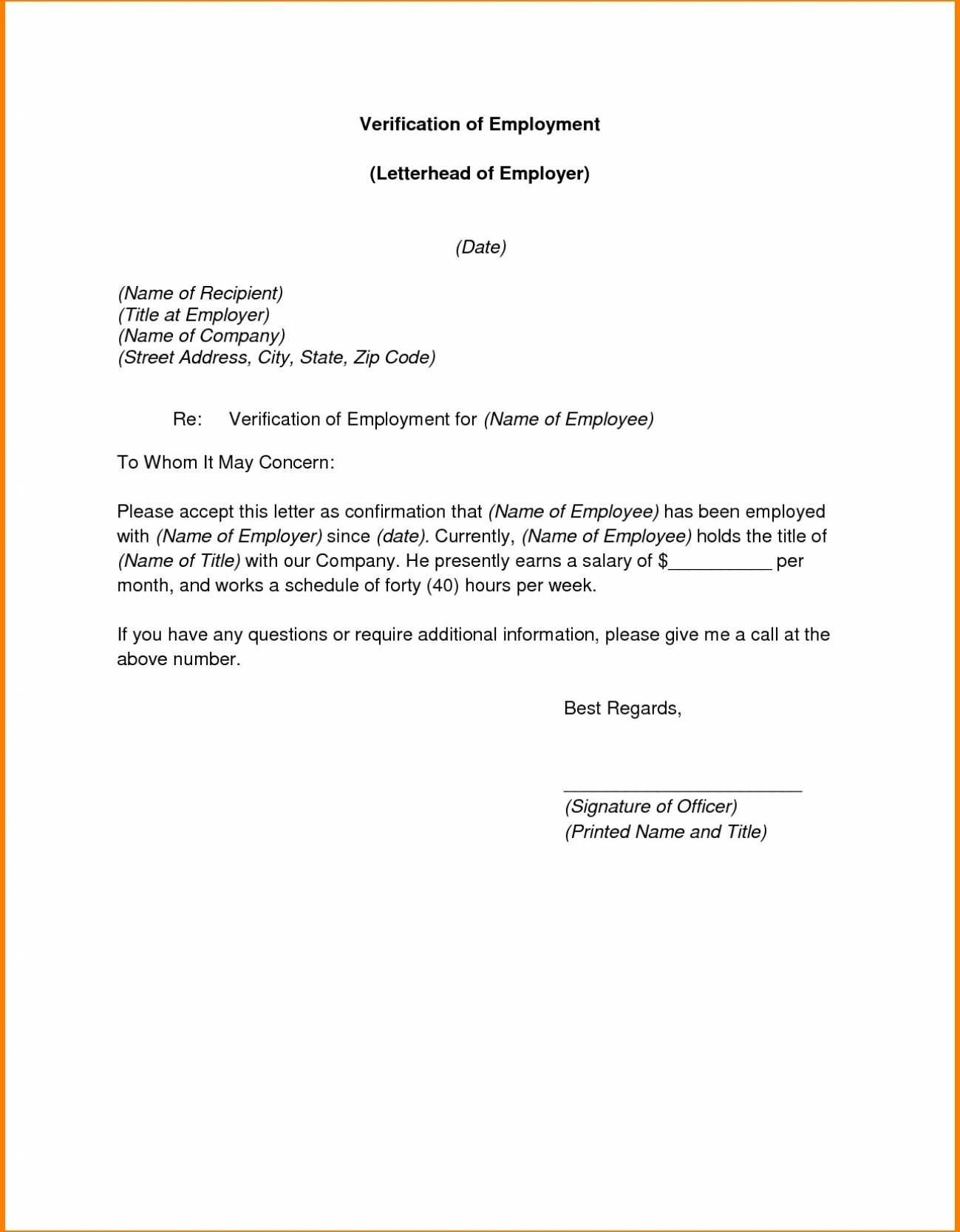 proof of employment and salary letter template examples