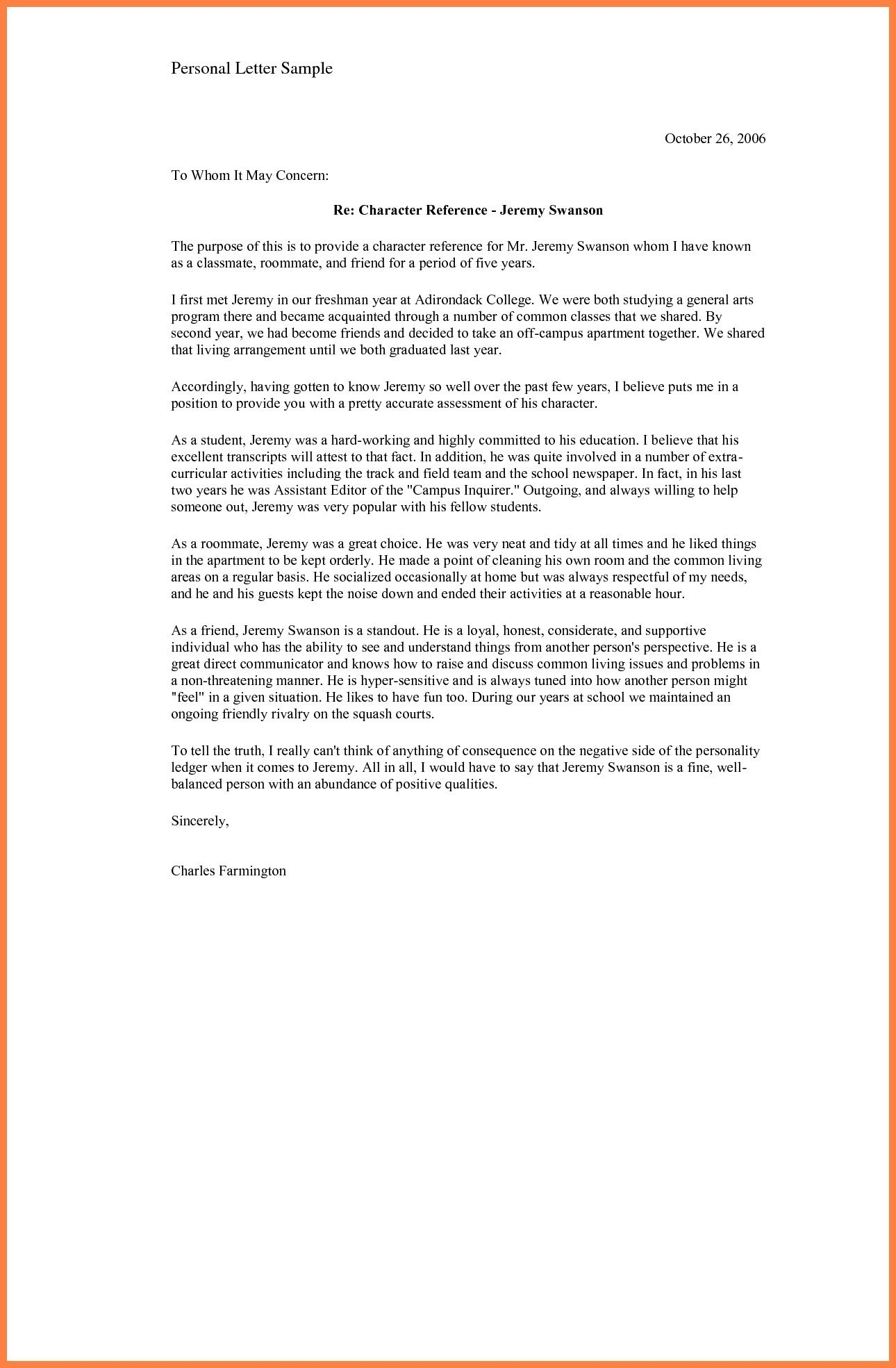 Personal Reference Letter for A Friend Template - Sample Certificate Good Moral Character for School C as Template