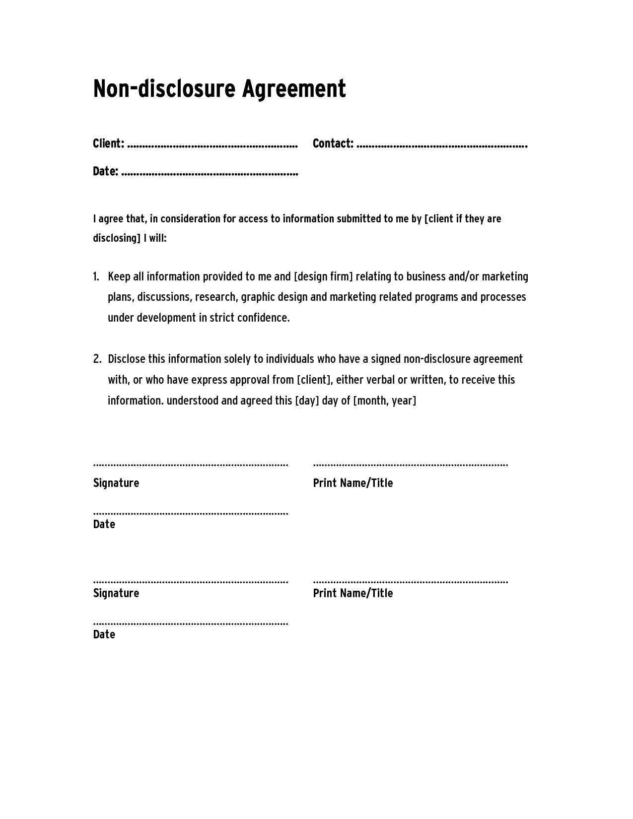 Letter Of Confidentiality and Nondisclosure Template - Sample Confidentiality Agreement Template