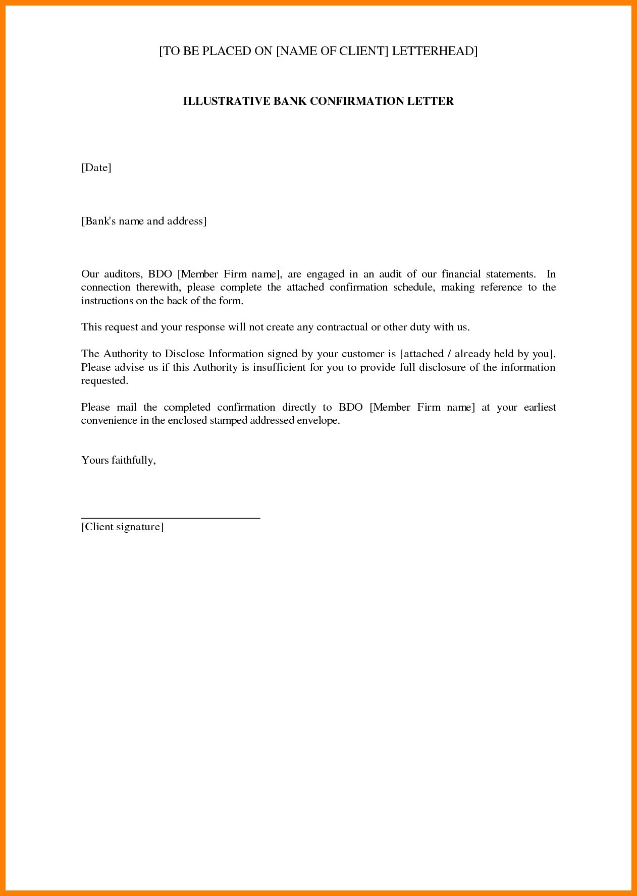 Audit Confirmation Letter Template - Sample Confirmation New Sample Audit Letter In Bank New Bank