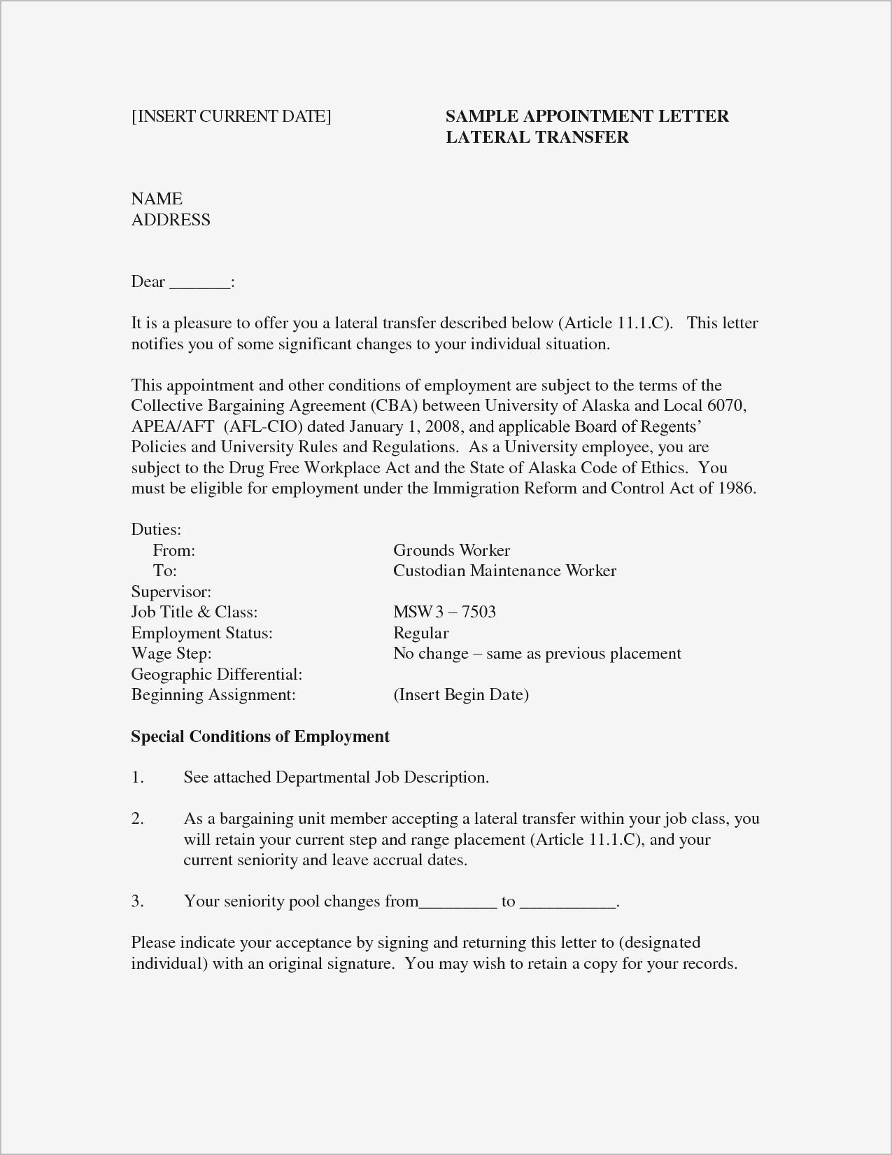 Letter for Job Offer Template - Sample Cover Letter for Job Fer Refrence Job Fer Letter Template