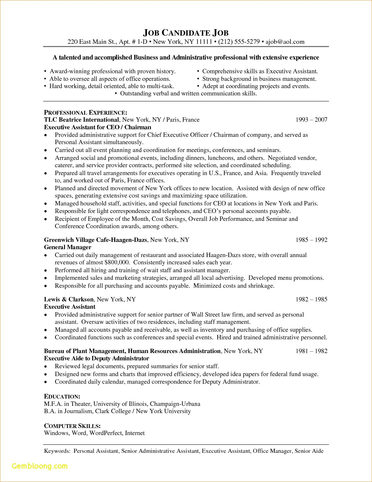 Executive Cover Letter Template - Sample Cover Letter for Senior Management Position