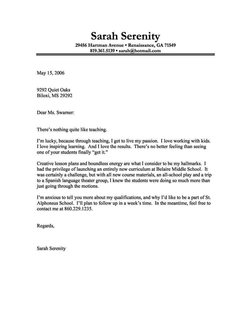 Fillable Cover Letter Template - Sample Cover Letter for Teacher Resume Samples