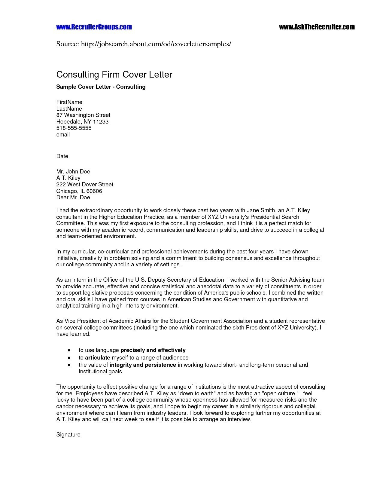 mla cover letter sample