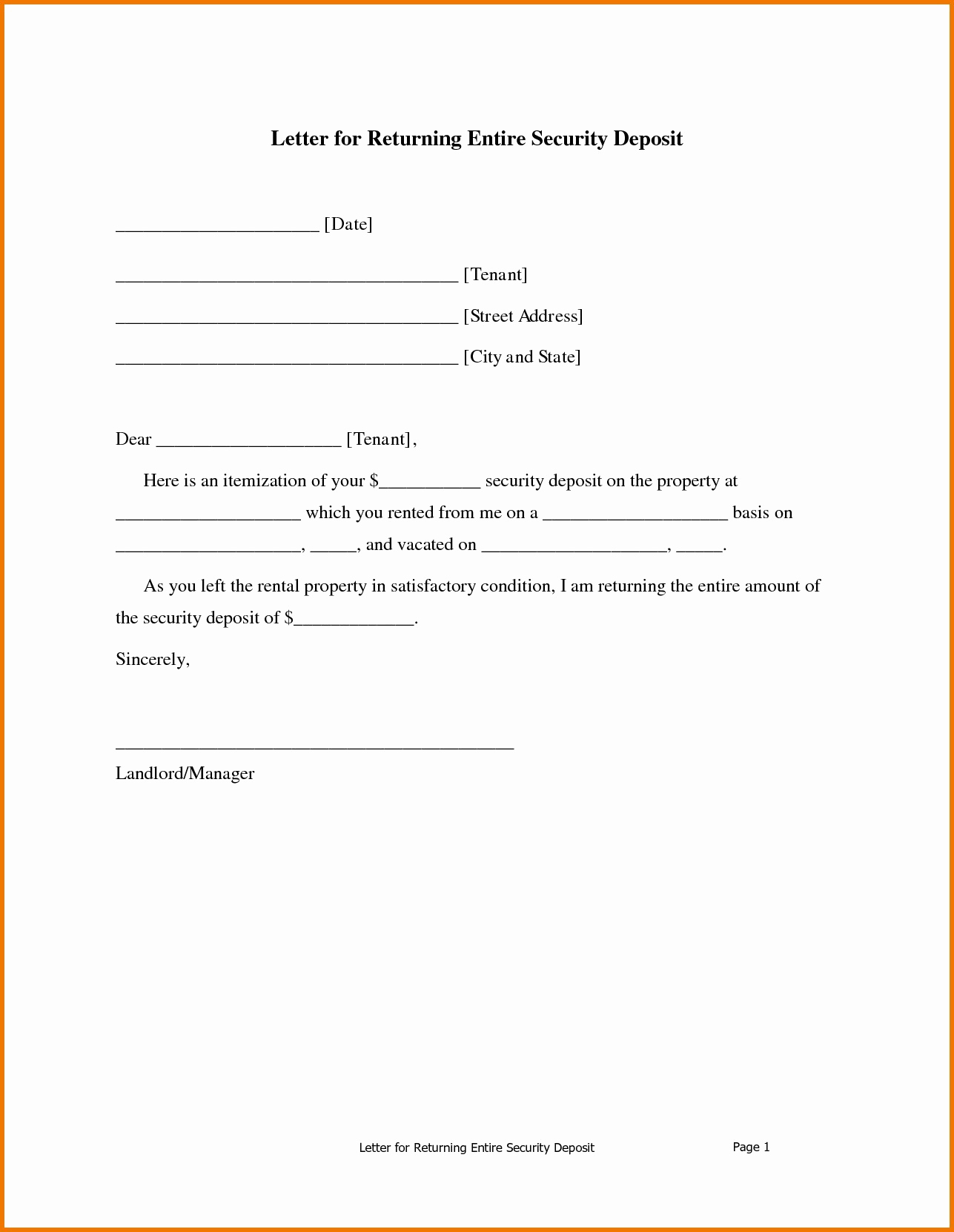 Security Deposit Refund Letter Template - Sample Demand Letter for Unpaid Rent Inspirational Security Deposit