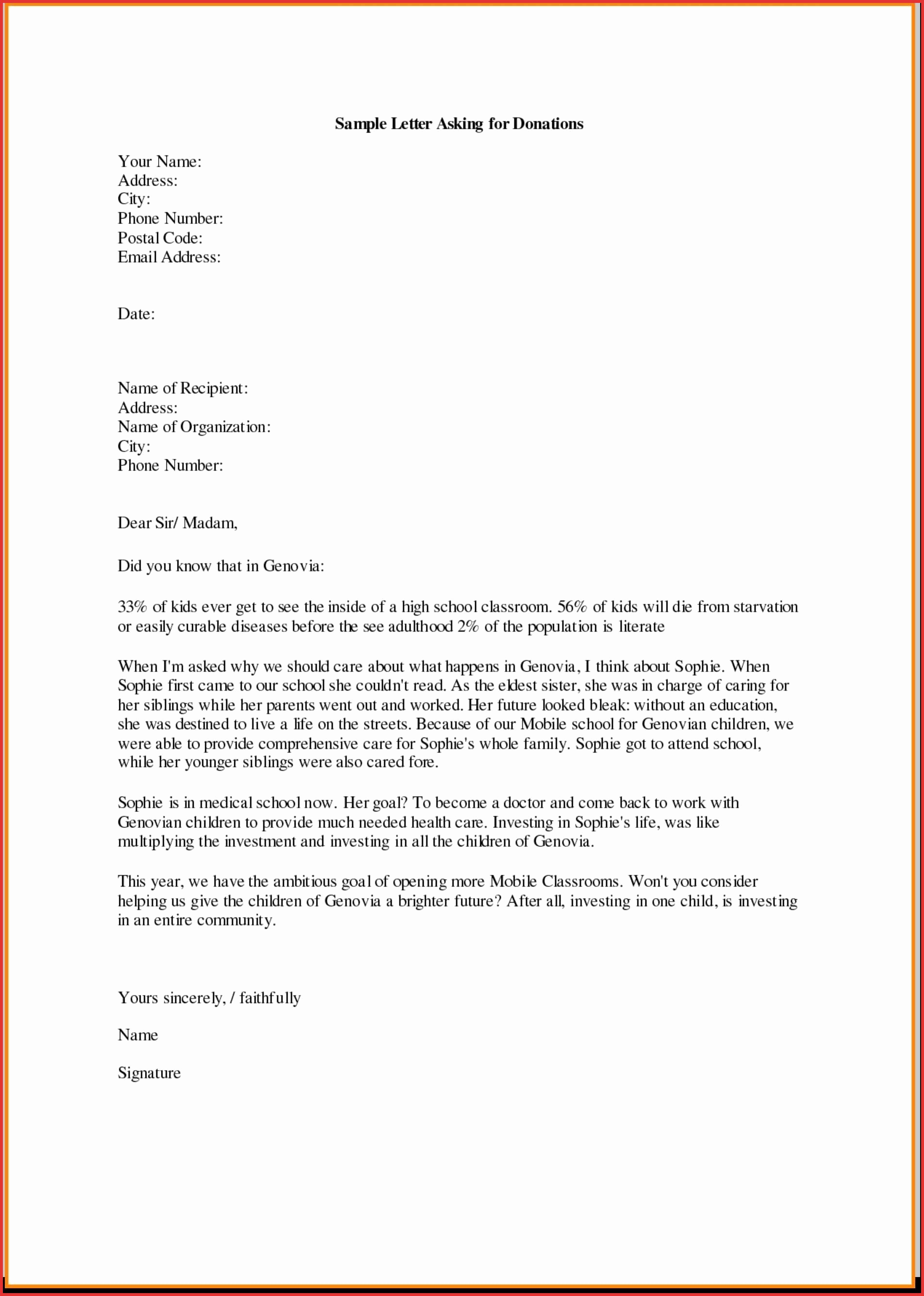 Donation Letter Template for Church - Sample Donation Request Letter for School Best Business Donation