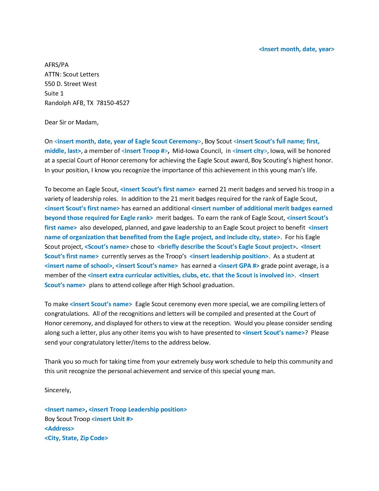 Fsbo Letter Template - Sample Eagle Re Mendation Letter Acurnamedia