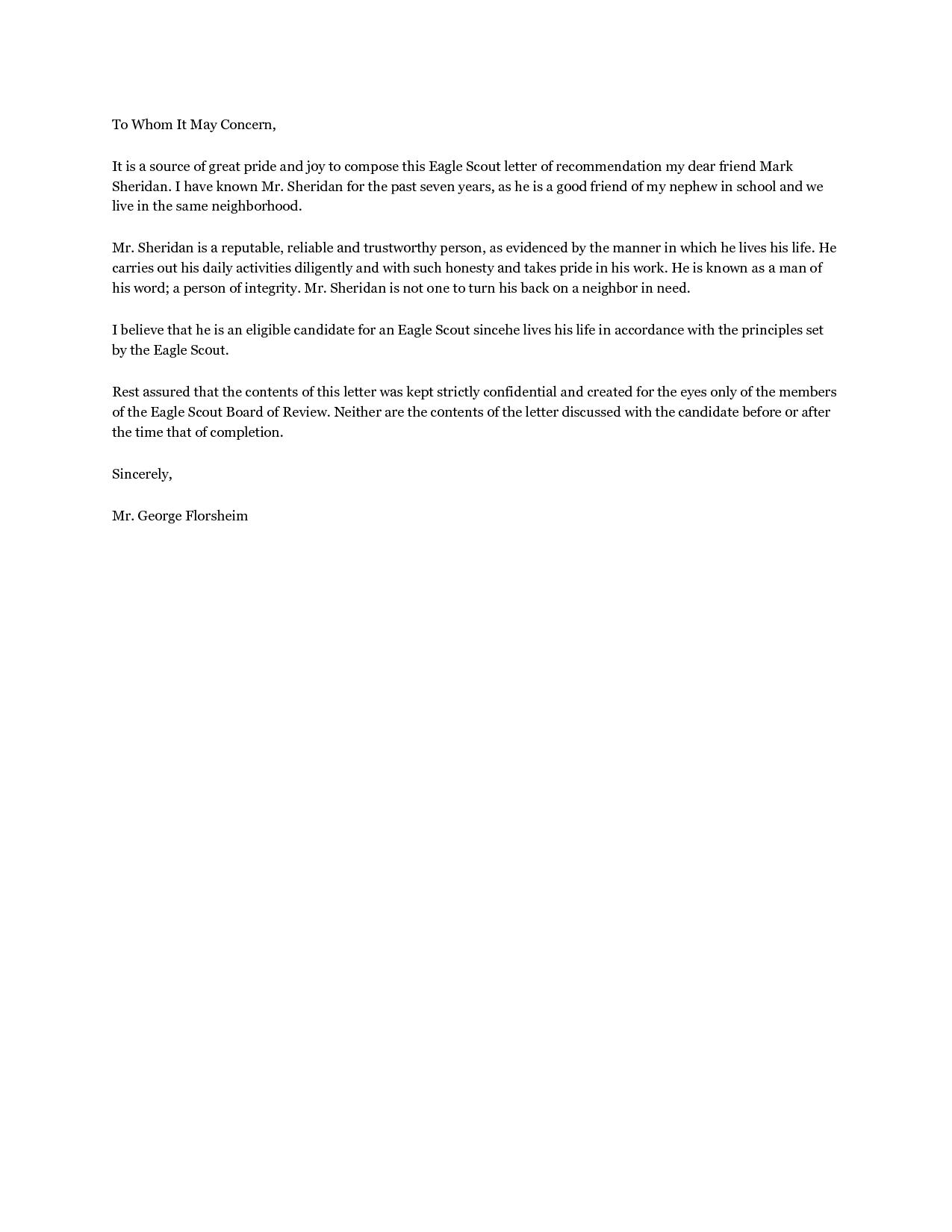 Letter Of Recommendation Template Pdf - Sample Eagle Re Mendation Letter Acurnamedia