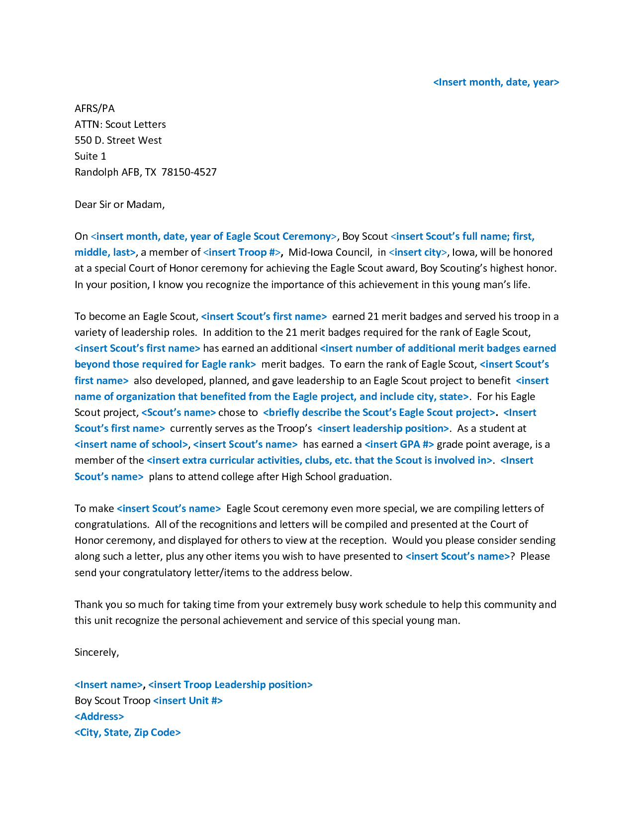 Sample Letter Of Recommendation Template - Sample Eagle Re Mendation Letter Acurnamedia