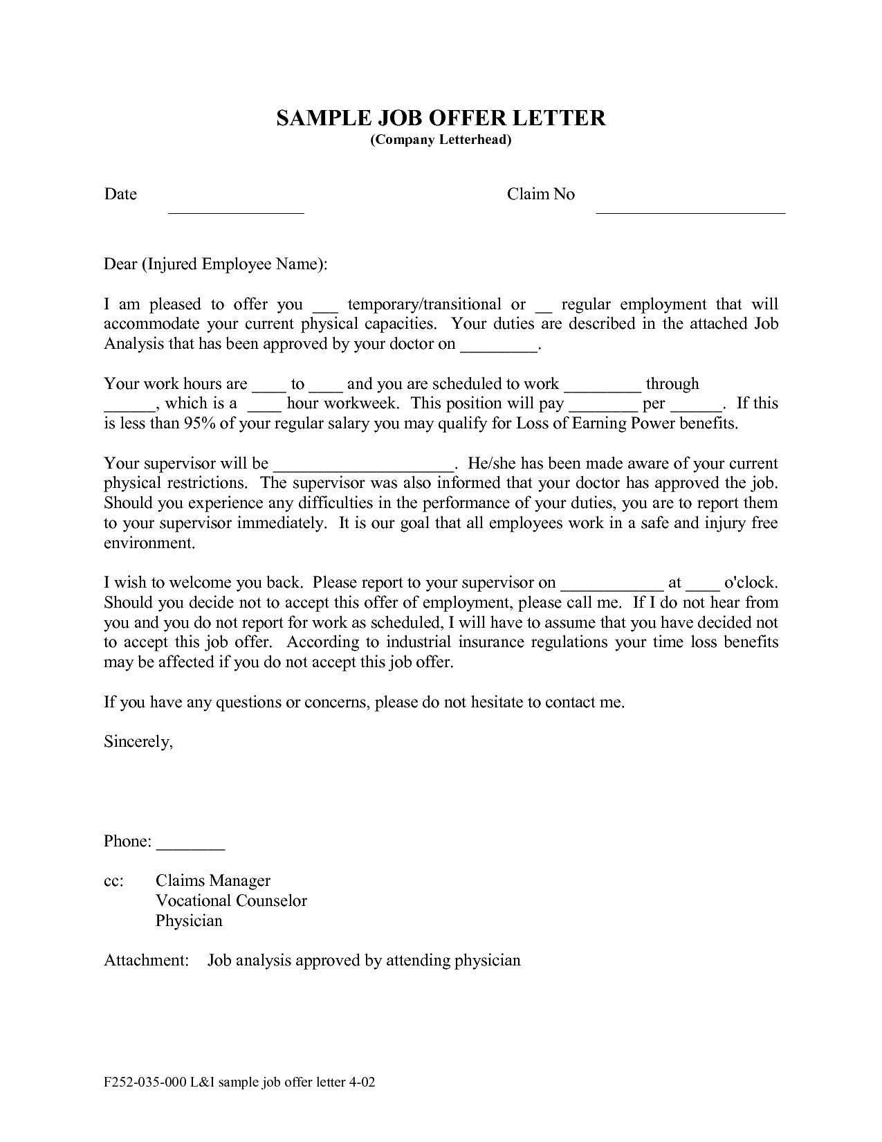 Employment Offer Letter Template California Examples Letter