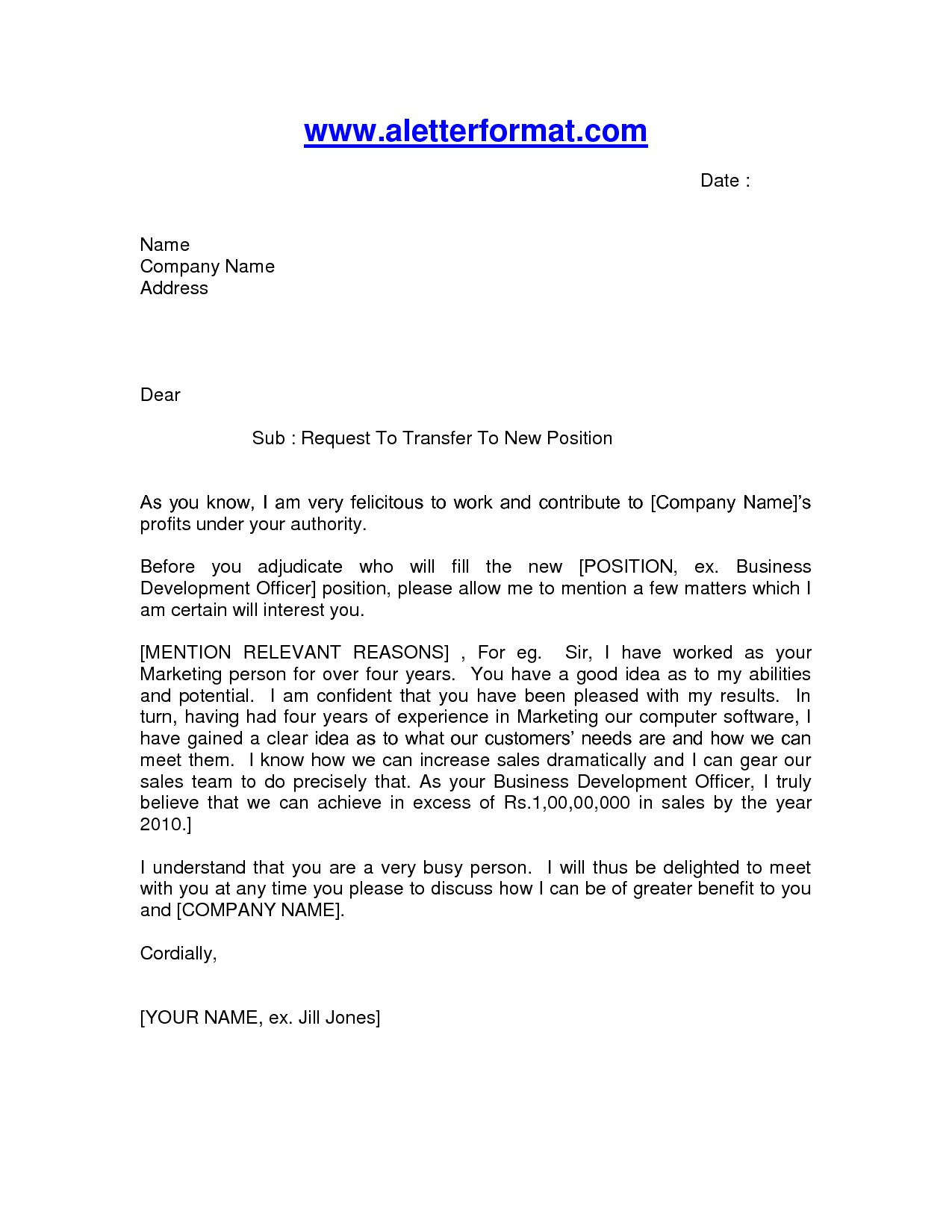 Letter Of Instruction Template Stock Transfer - Sample format Letter for Job Transfer Request Fresh Letter