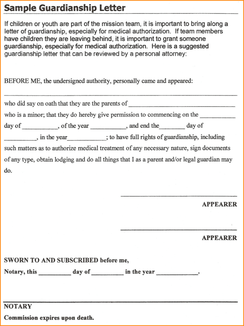 Legal Guardianship Letter Template - Sample Guardianship Letter for School