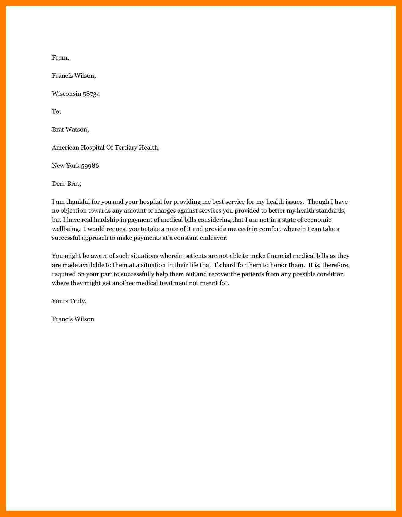 Financial Hardship Letter Template - Sample Hardship Letter Medical Bills Inspirationa Sample Hardship