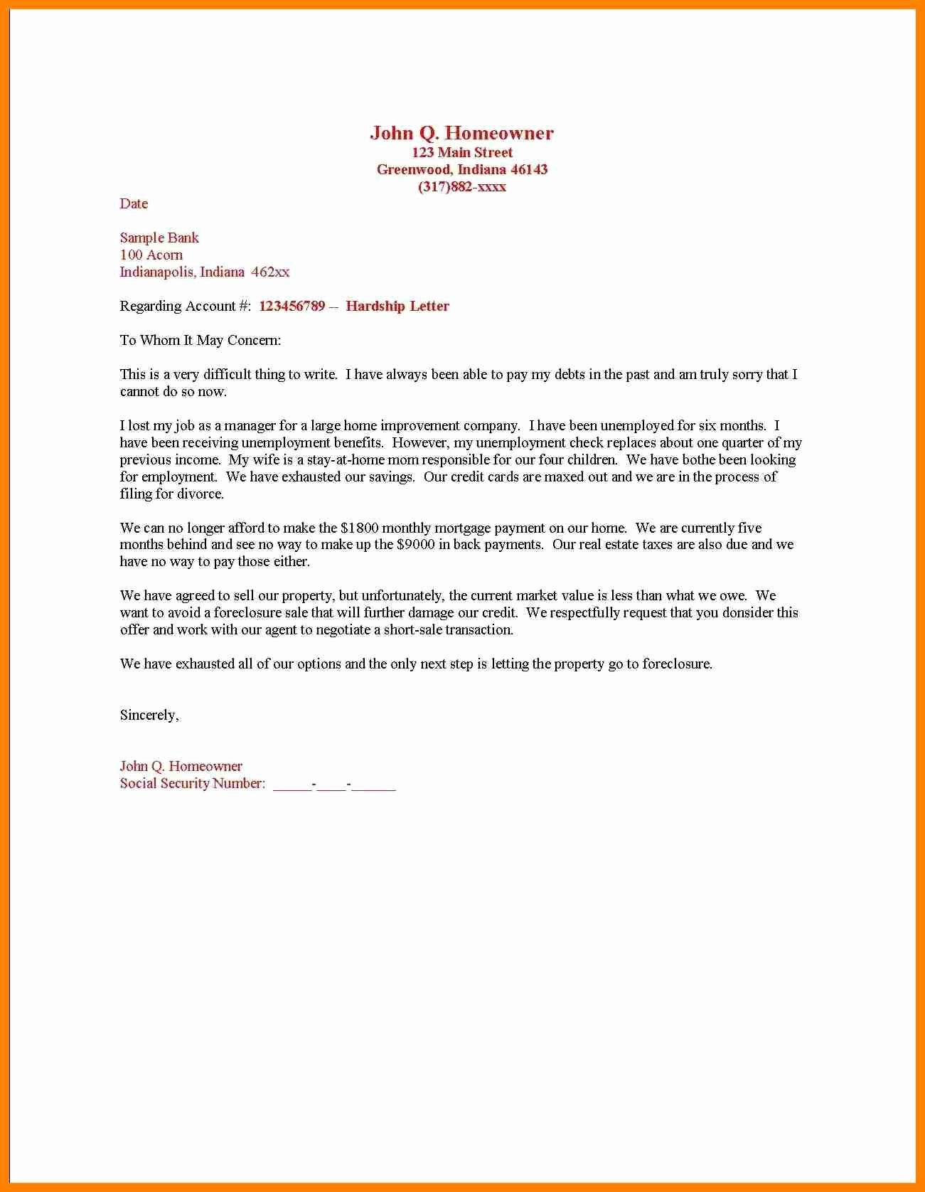 Short Sale Hardship Letter Template - Sample Hardship Letter Medical Bills New Free Sample Hardship Letter
