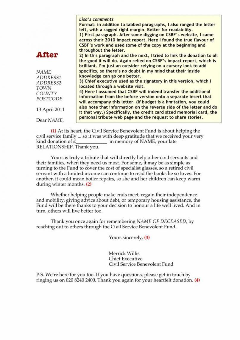 Memorial Donation Letter Template - Sample Heartfelt Thank You Letter for Donation