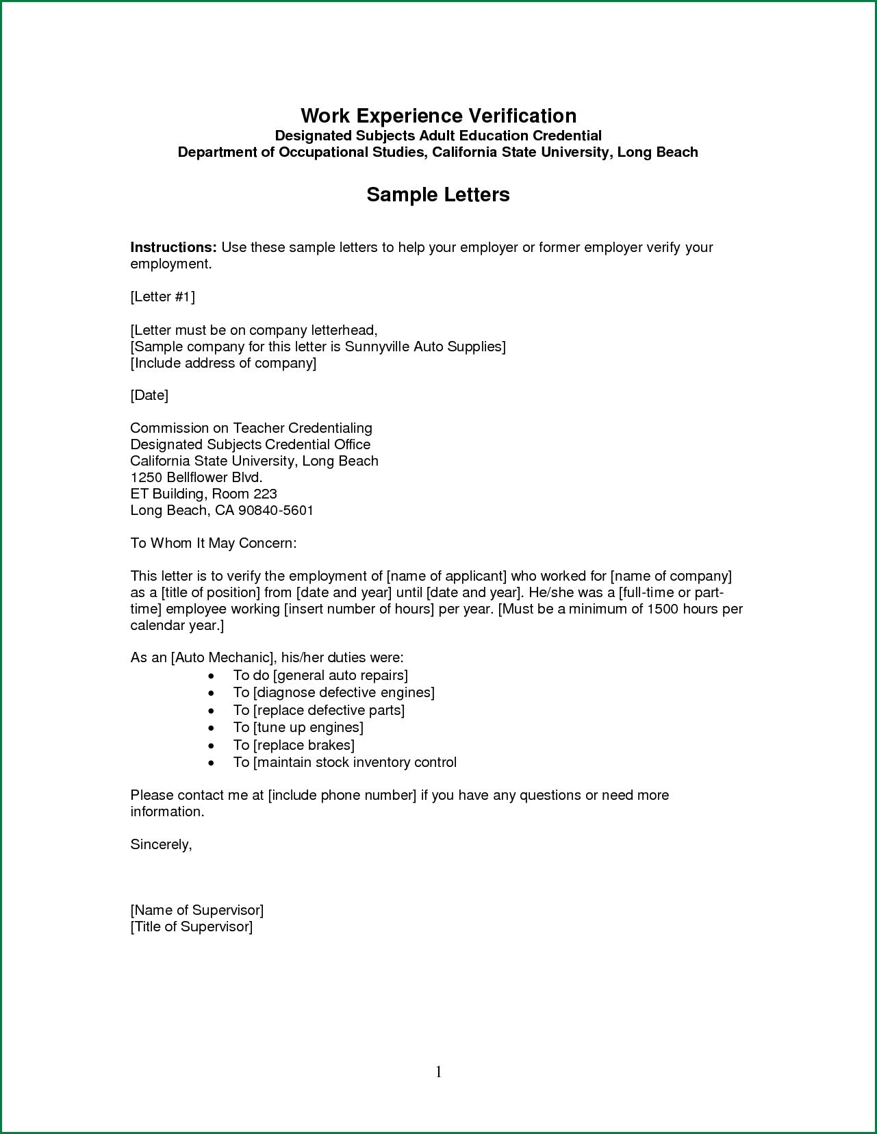 Employment Verification Letter Template Pdf Collection Letter