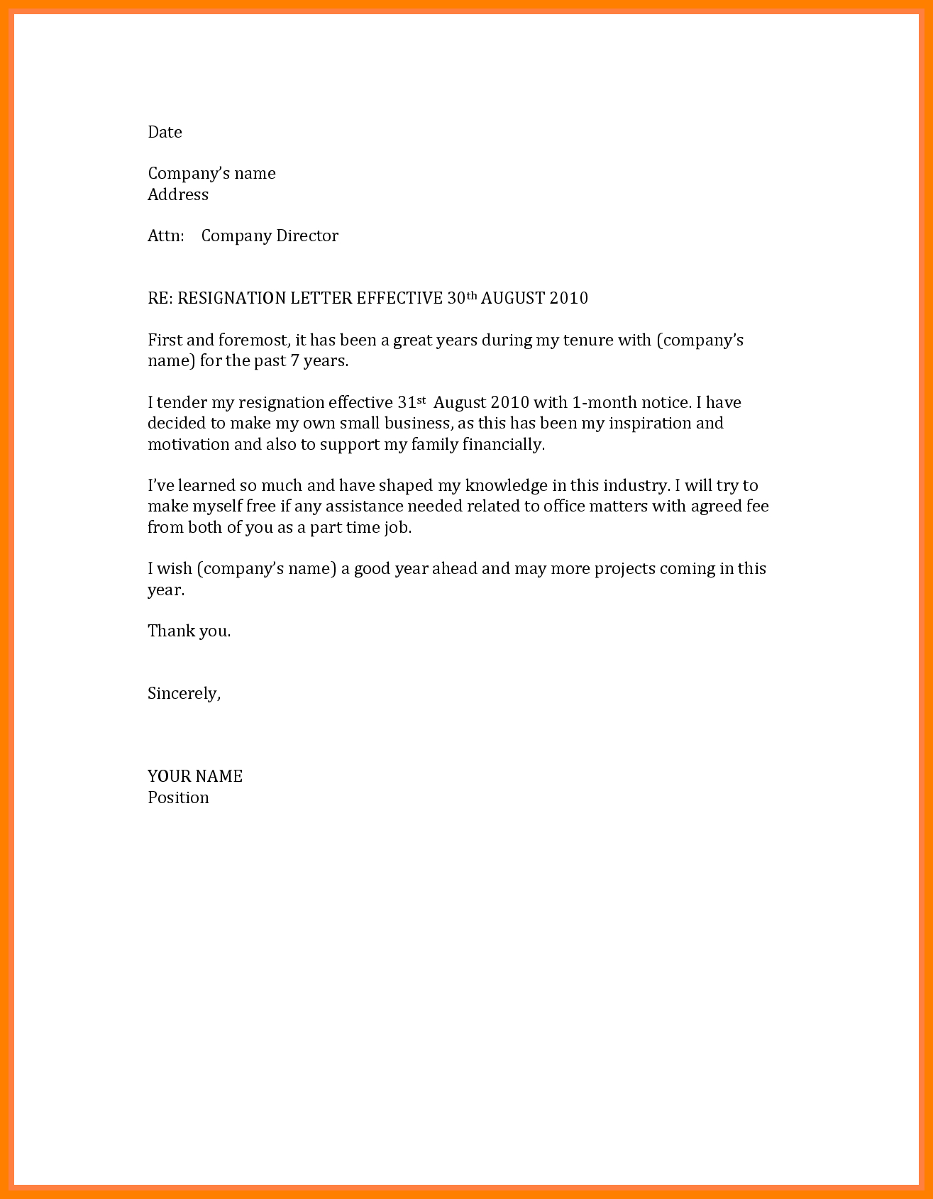 Free Printable Resignation Letter Template - Sample Job Resignation Letter with Noticeod without Simple Month