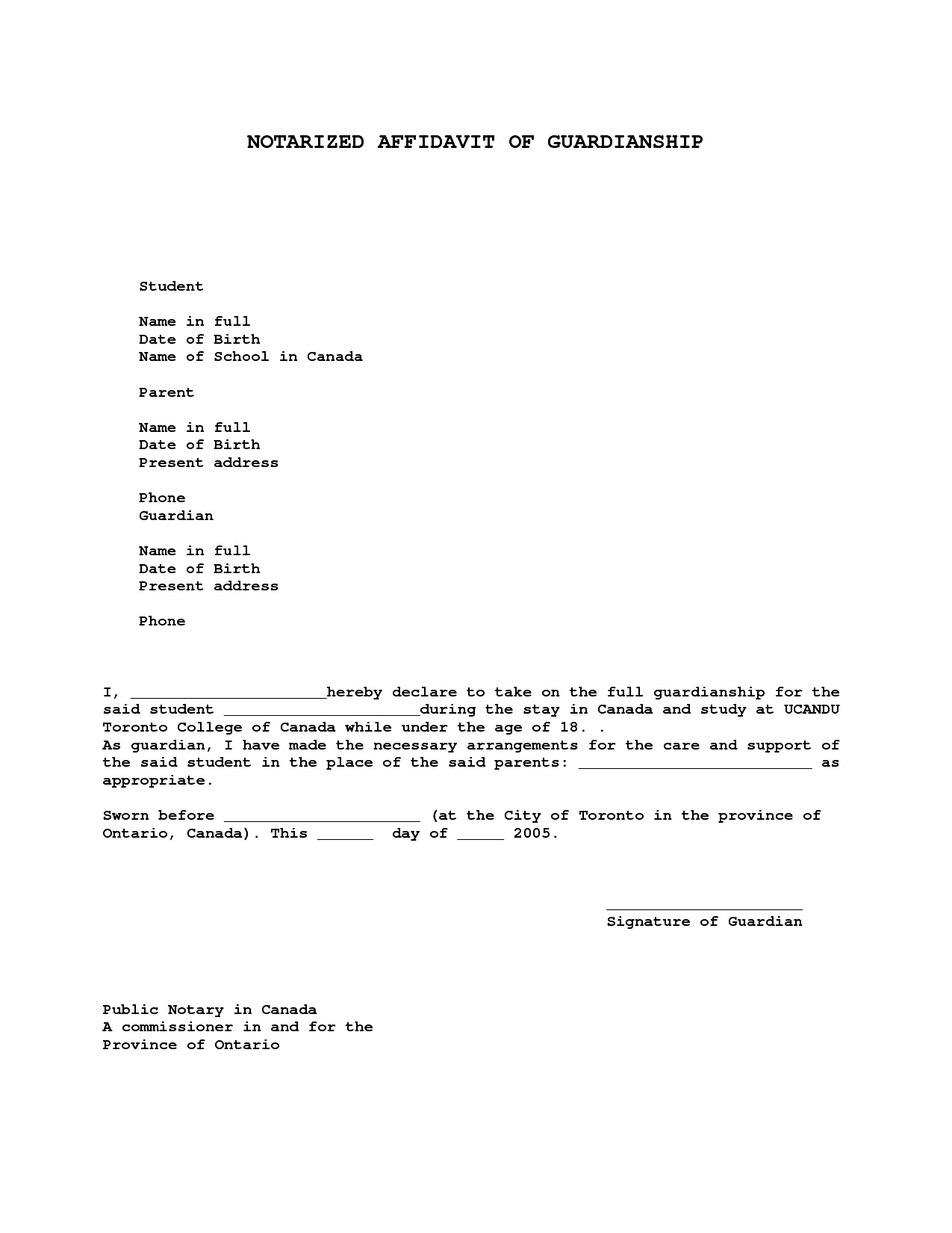 Free Guardianship Letter Template - Sample Legal Letter Template