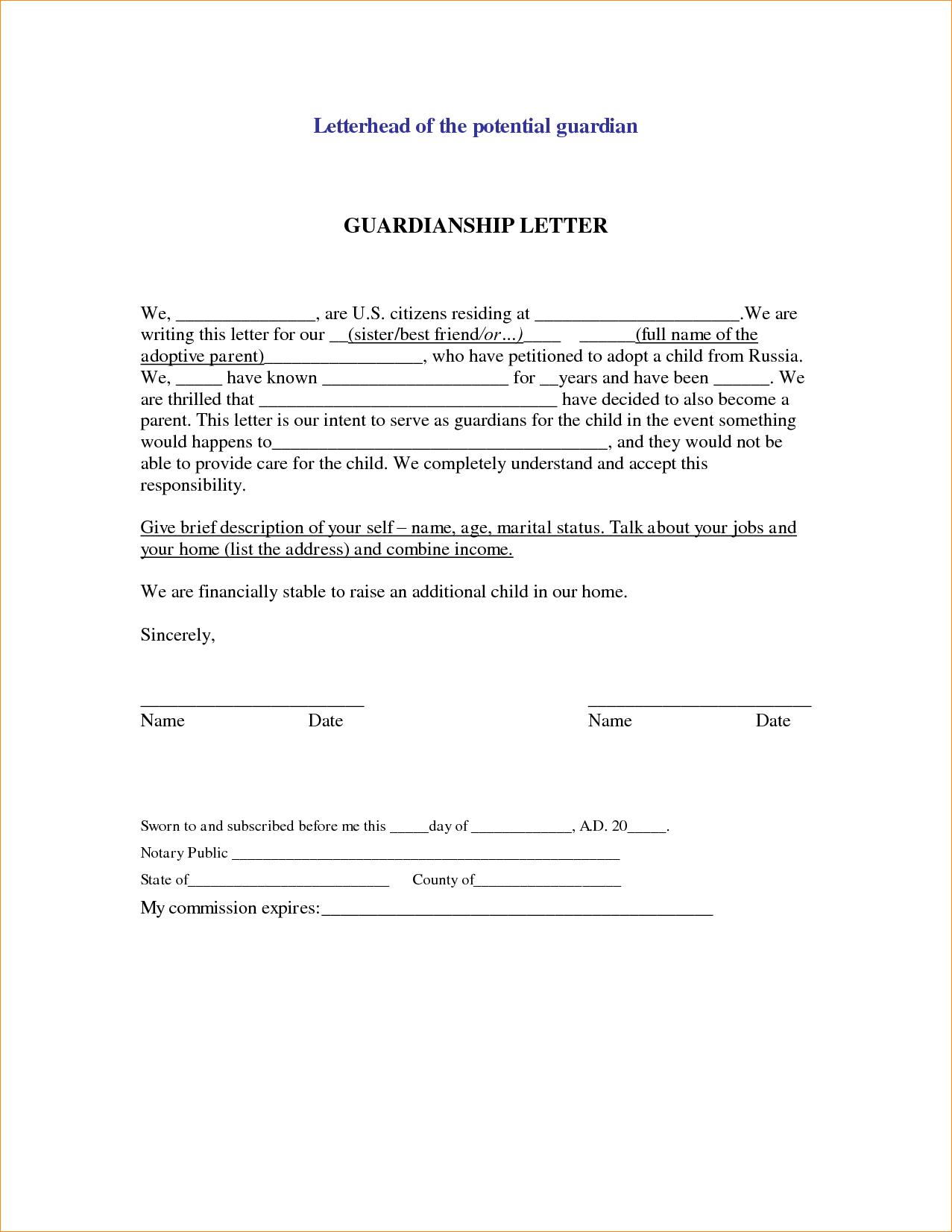 Guardianship Letter Template - Sample Legal Letter Template