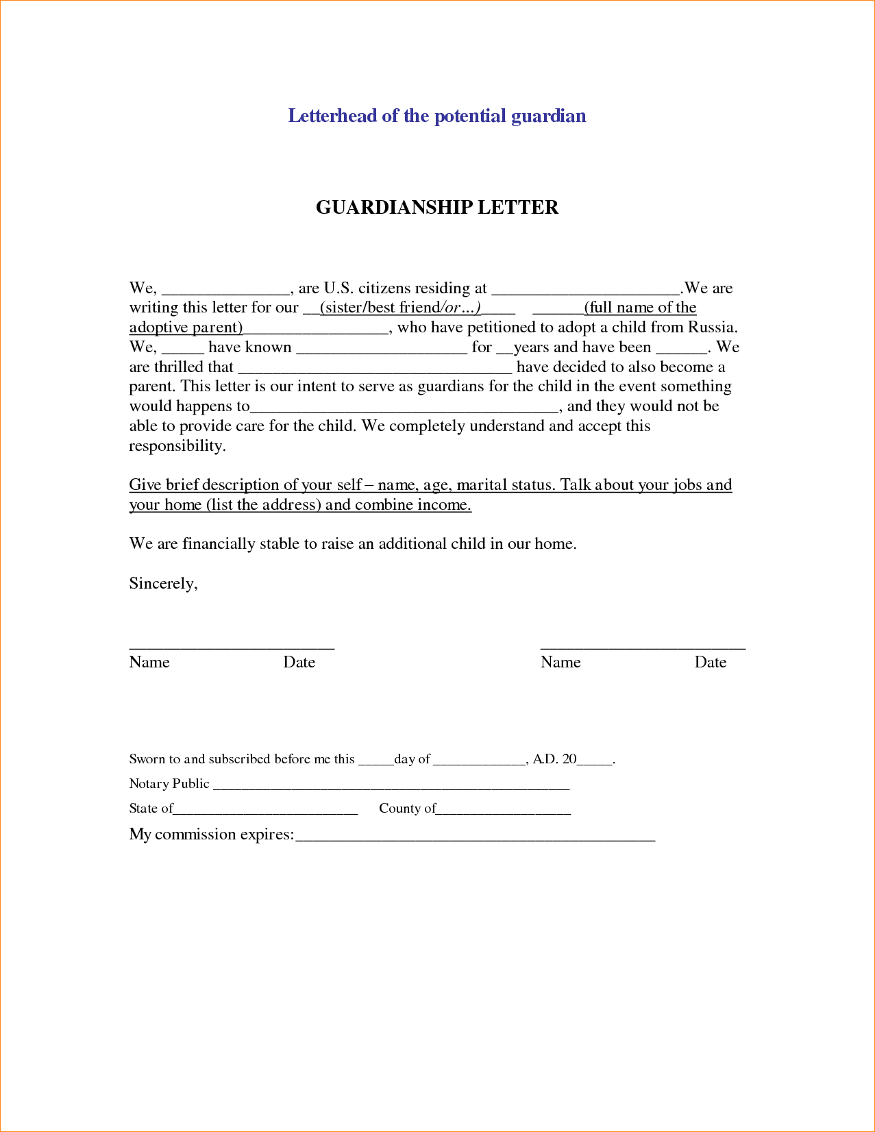 Notarized Letter for Guardianship Template - Sample Legal Letter Template