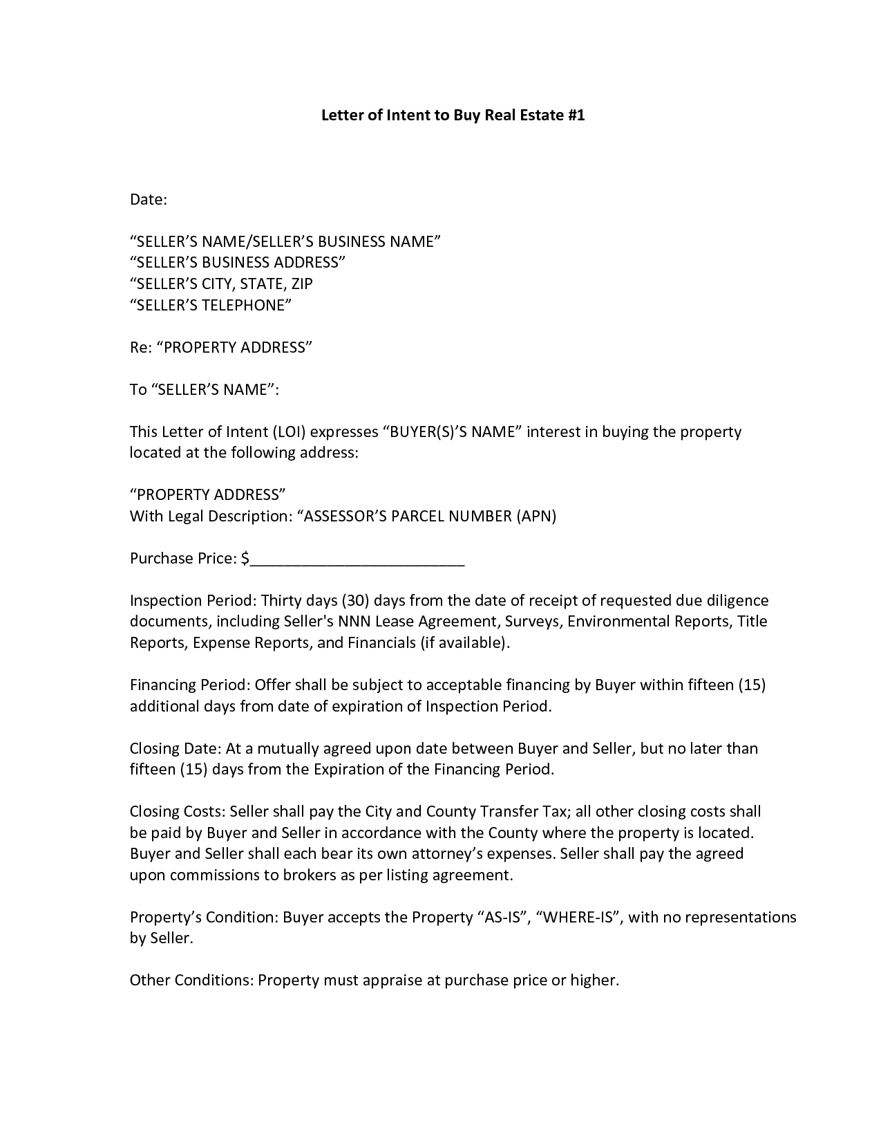 Letter Of Intent to Sell Property Template - Sample Letter Intent Purchase Real Estate New Property Fer