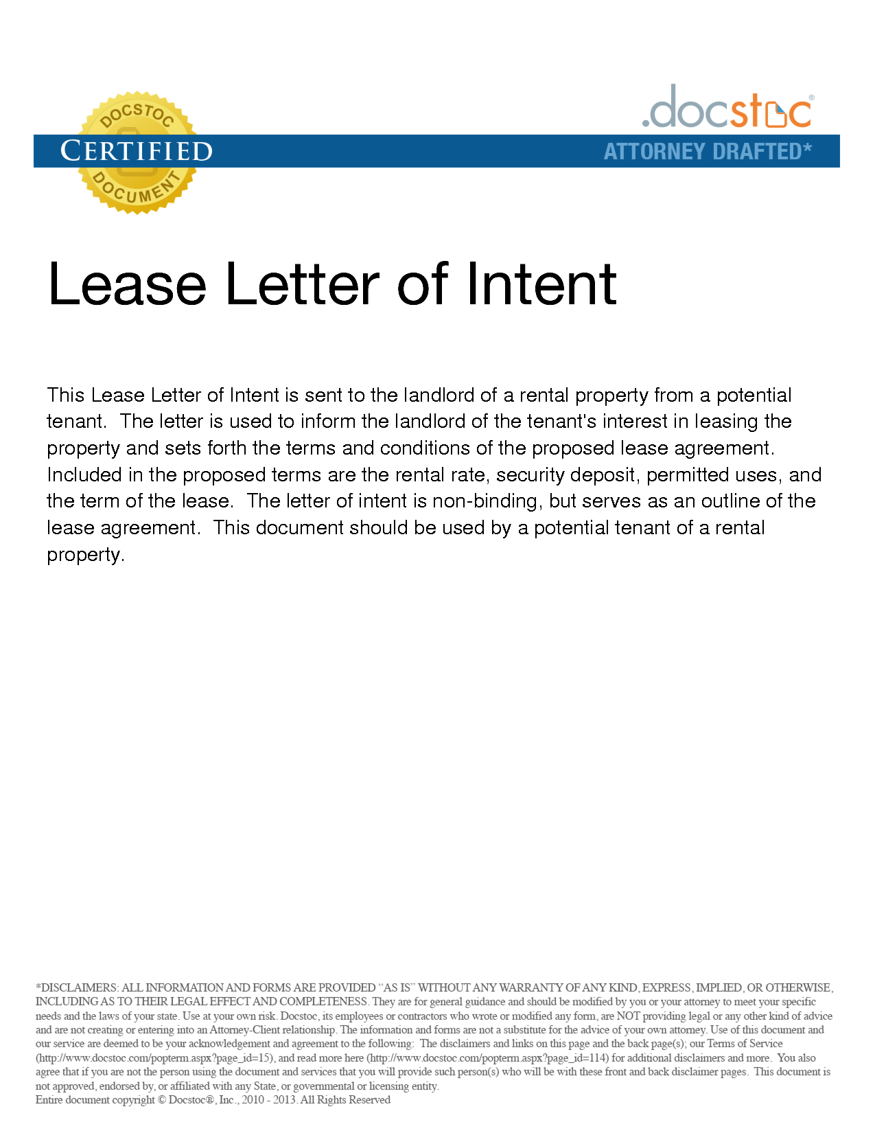 Letter Of Intent to Rent Template - Sample Letter Intent to Lease Real Estate Property Residential
