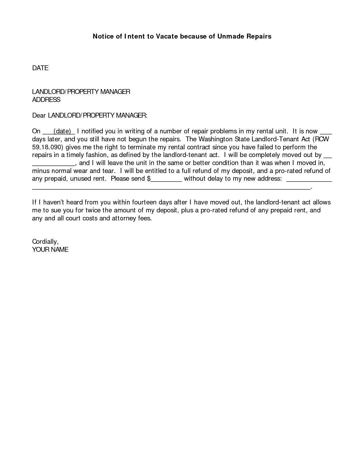 Notice Of Intent to Vacate Letter Template - Sample Letter to Landlord with Notice Vacate Smart Letters Intent