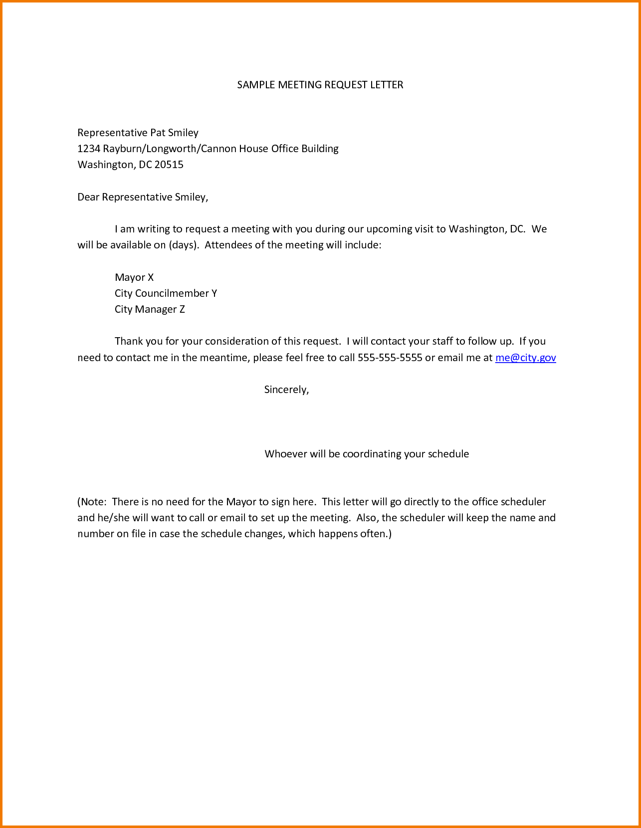 Formal Petition Letter Template - Sample Meeting Request Letter Representative Pat Smiley Rayburn